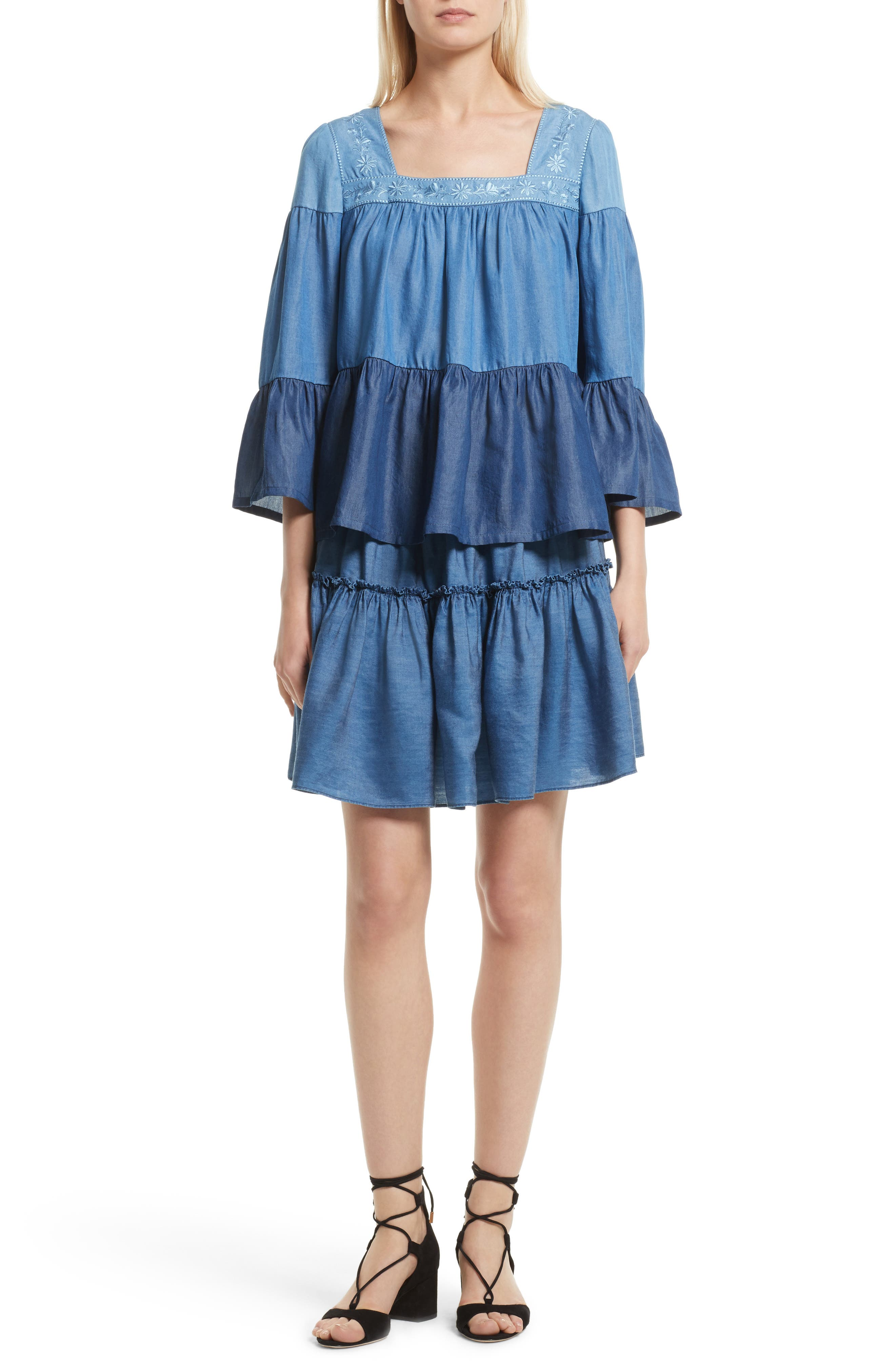smocked waist chambray skirt,                             Alternate thumbnail 6, color,                             434