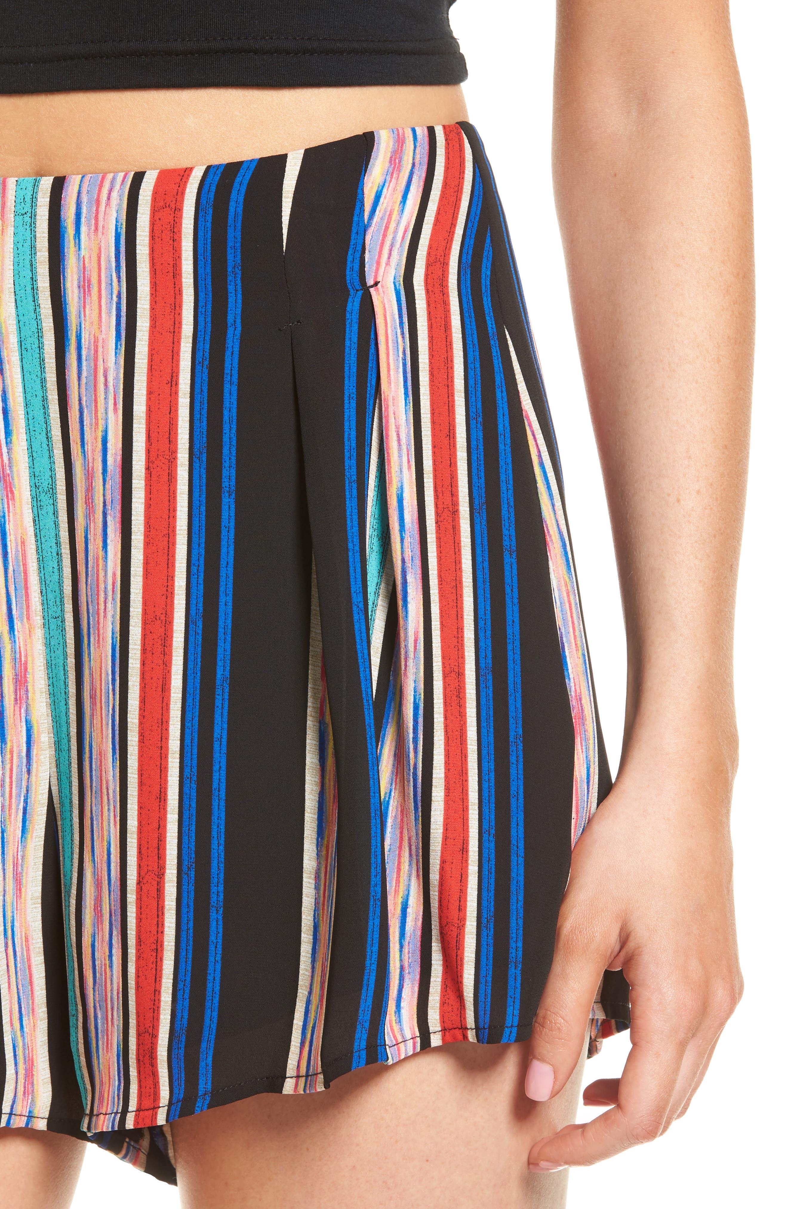 Pleat Front High Waist Shorts,                             Alternate thumbnail 4, color,                             001