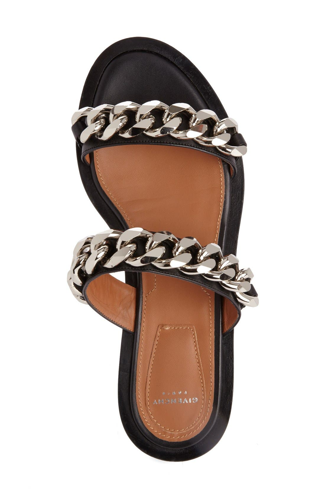 Double Chain Slide Sandal,                             Alternate thumbnail 3, color,                             BLACK
