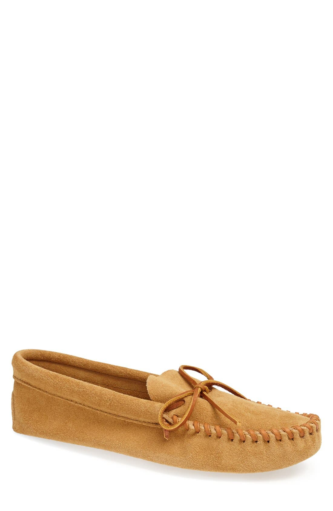 Suede Moccasin,                         Main,                         color, TAN