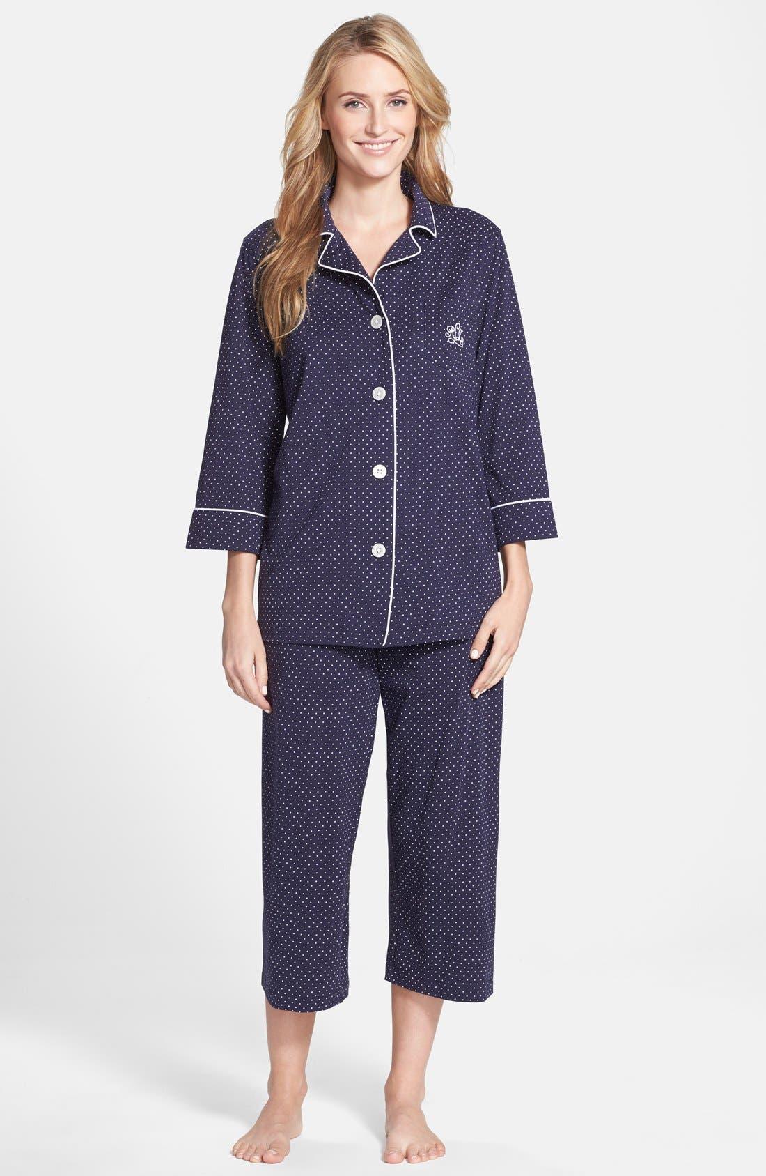Knit Crop Pajamas,                             Main thumbnail 3, color,