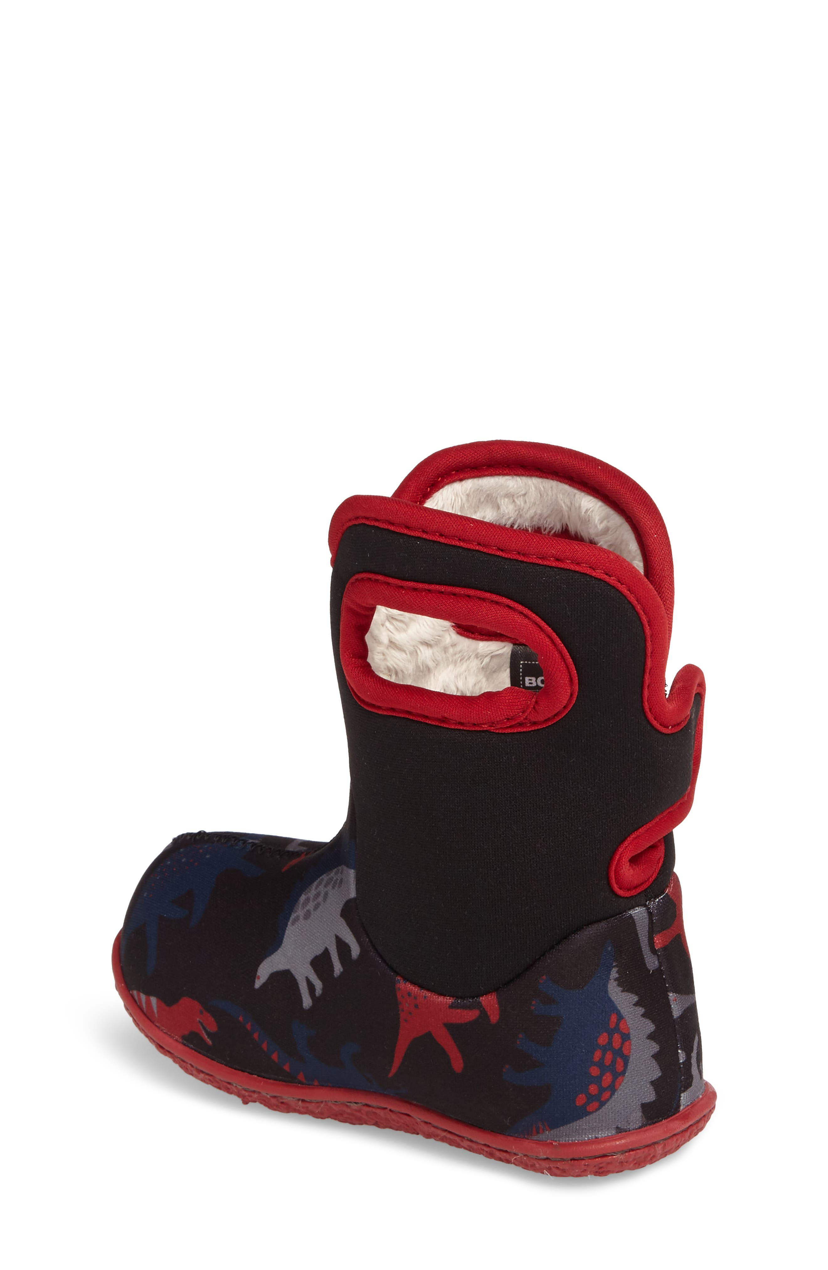 Baby Bog Classic Dino Insulated Waterproof Boot,                             Alternate thumbnail 2, color,                             BLACK/ RED MULTI