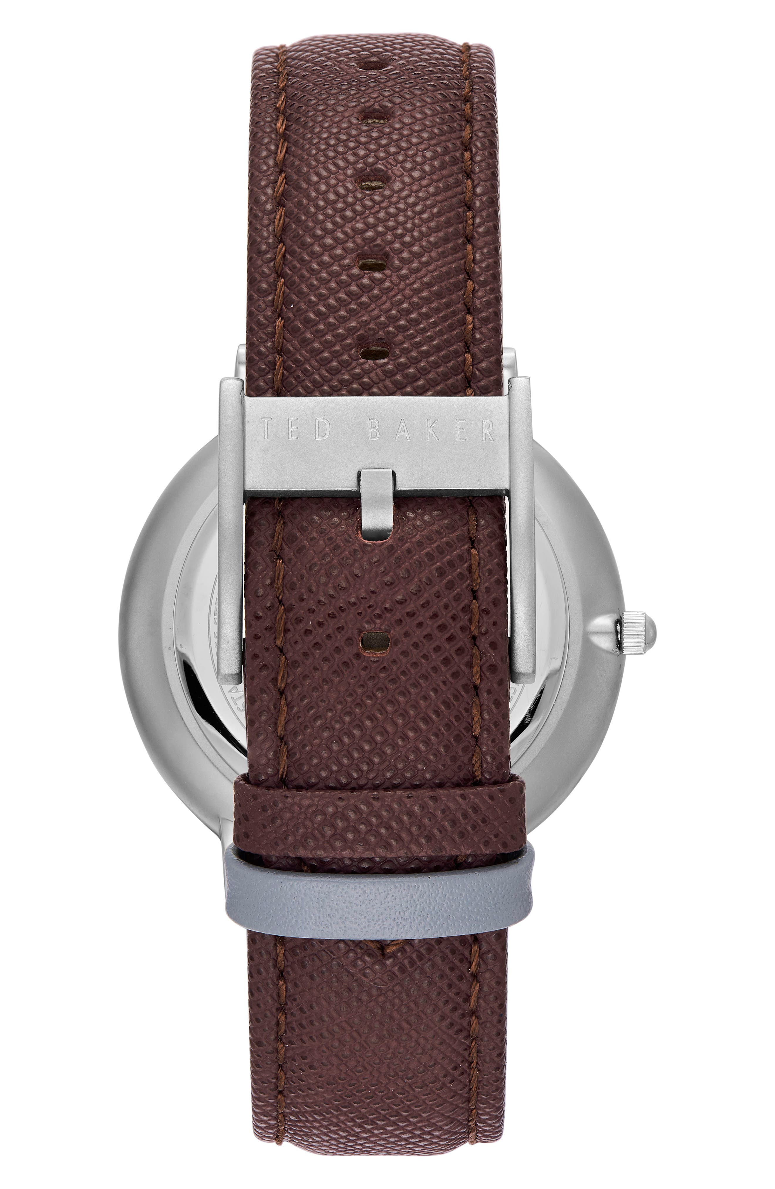 Brad Multifuntion Leather Strap Watch, 42 mm,                             Alternate thumbnail 2, color,                             LIGHT GREY/ DARK BROWN
