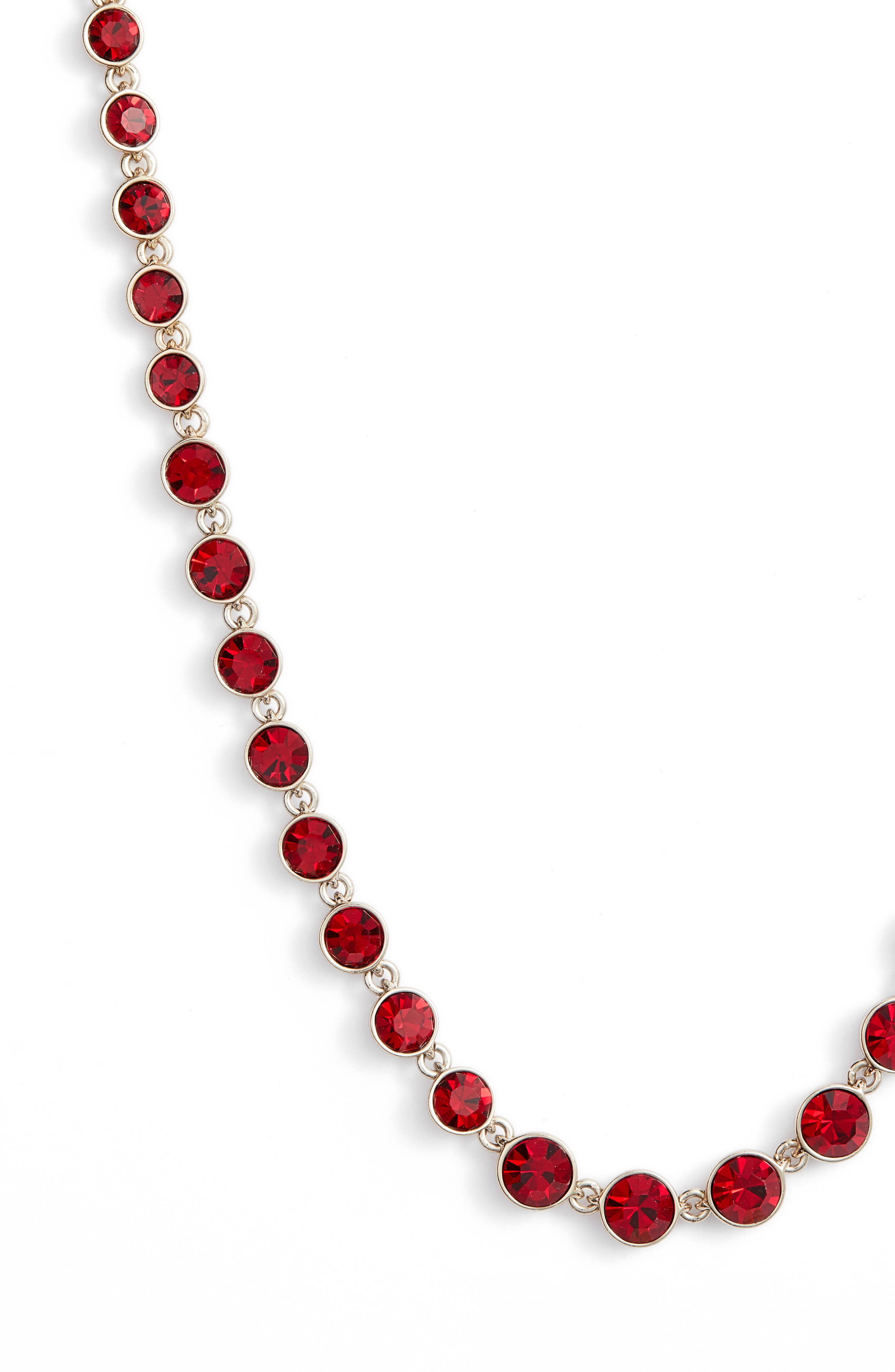 Long Crystal Strand Necklace,                             Alternate thumbnail 2, color,                             RED/ GOLD