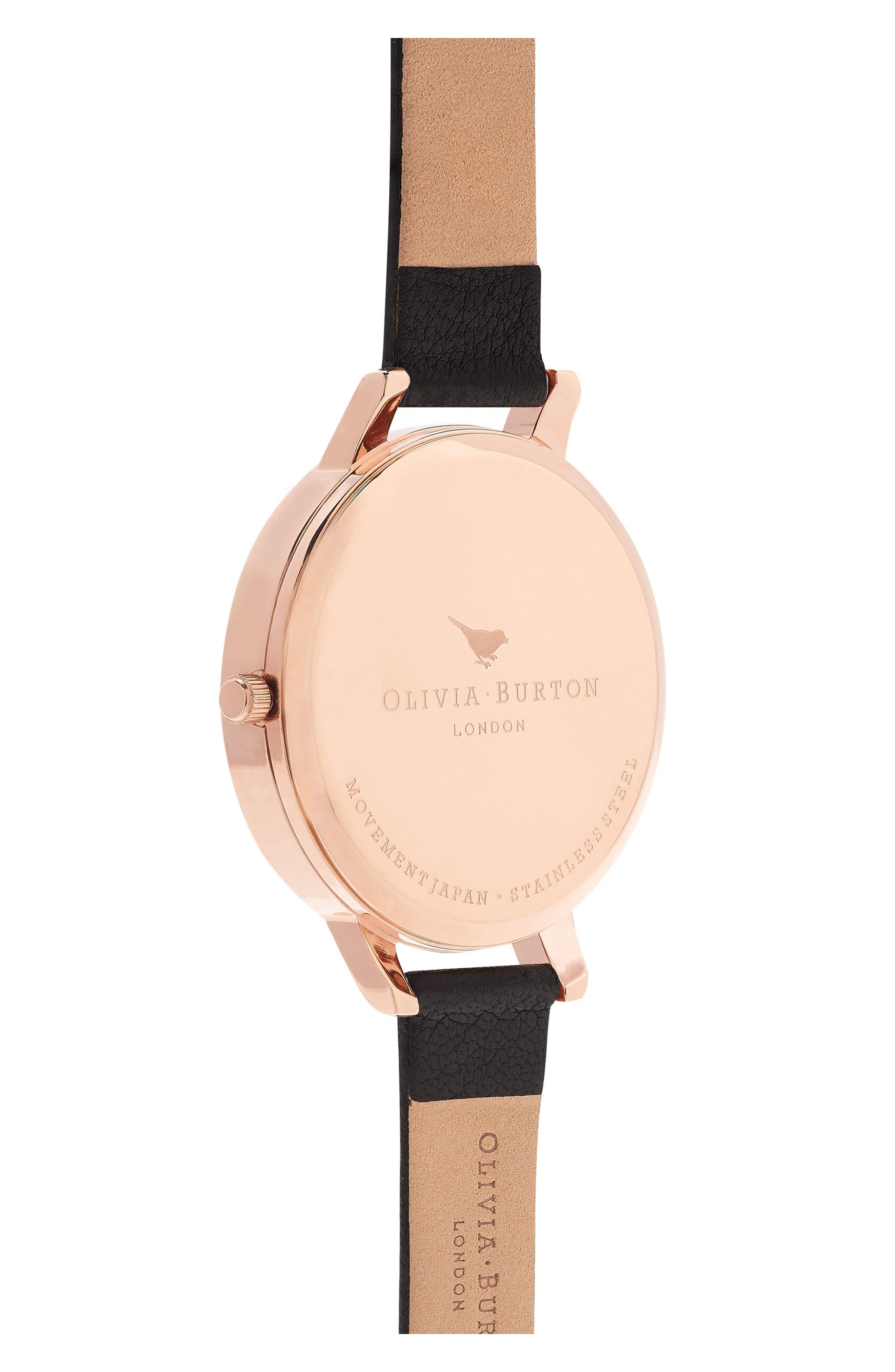 Dark Bouquet Leather Strap Watch, 38mm,                             Alternate thumbnail 2, color,                             BLACK/ FLORAL/ ROSE GOLD