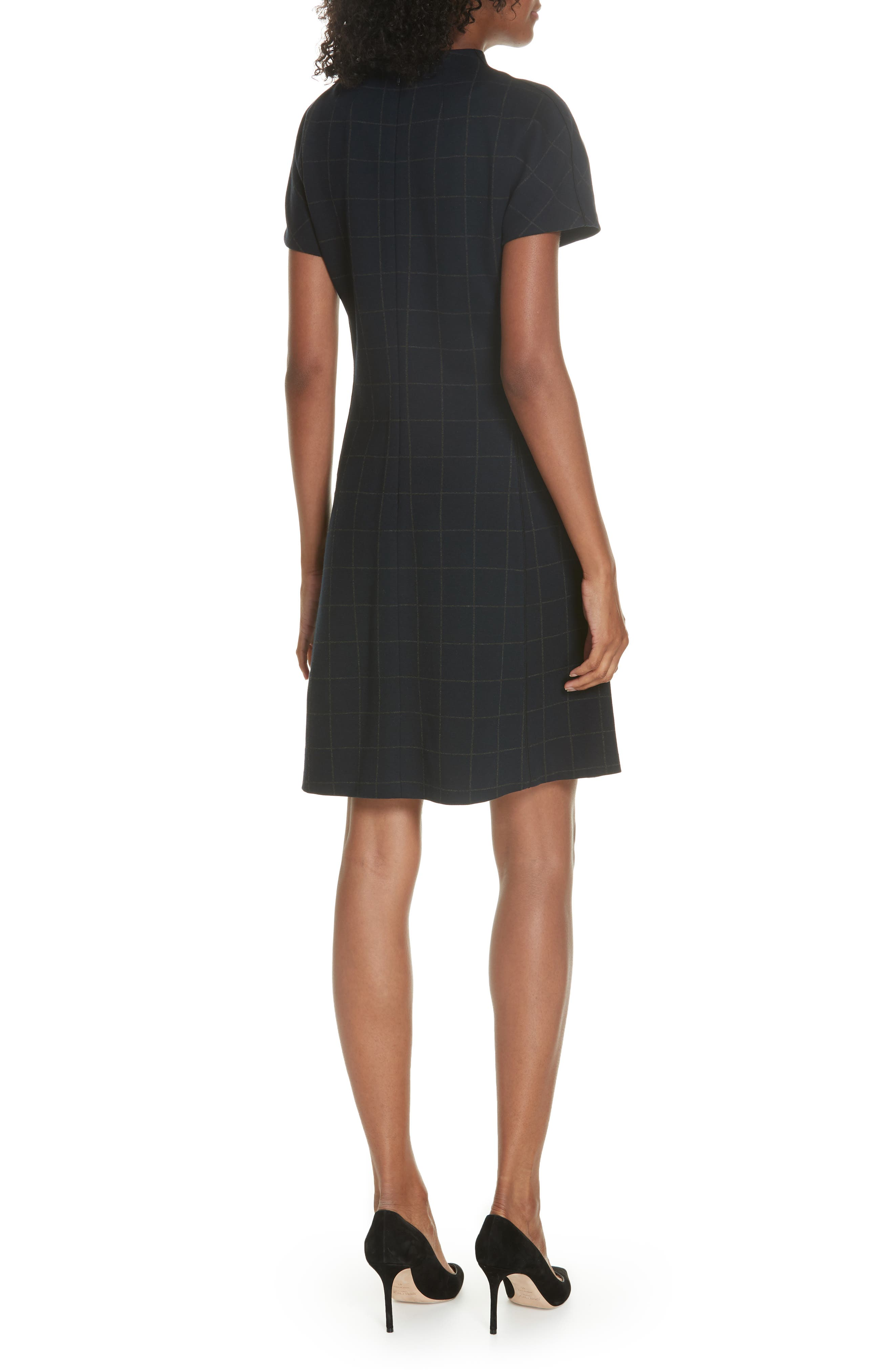 Windowpane Knit A-Line Dress,                             Alternate thumbnail 2, color,                             DEEP NAVY/ CHARCOAL MELANGE