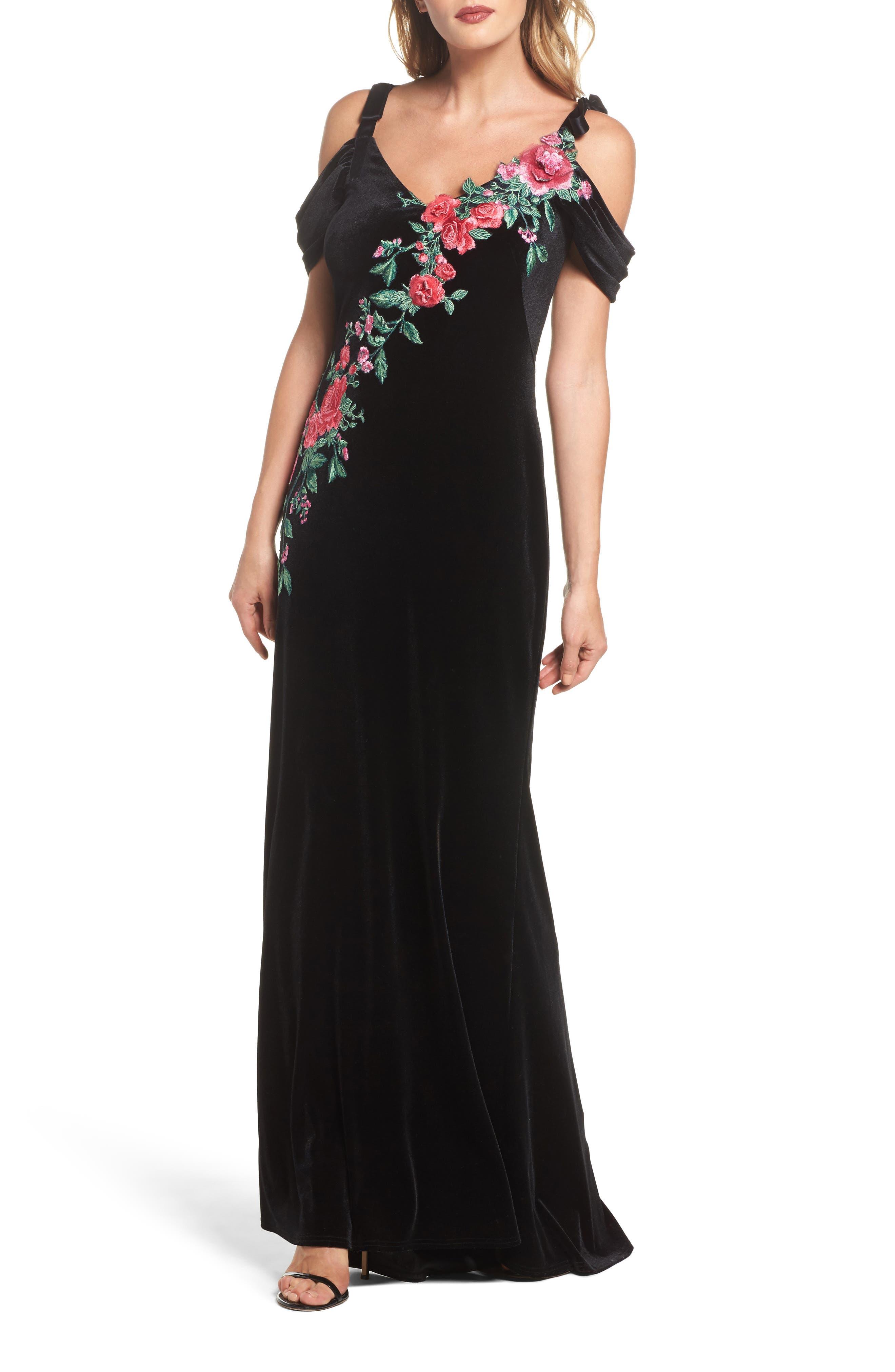 Embroidered Cold Shoulder Velvet Gown,                             Main thumbnail 1, color,                             BLACK