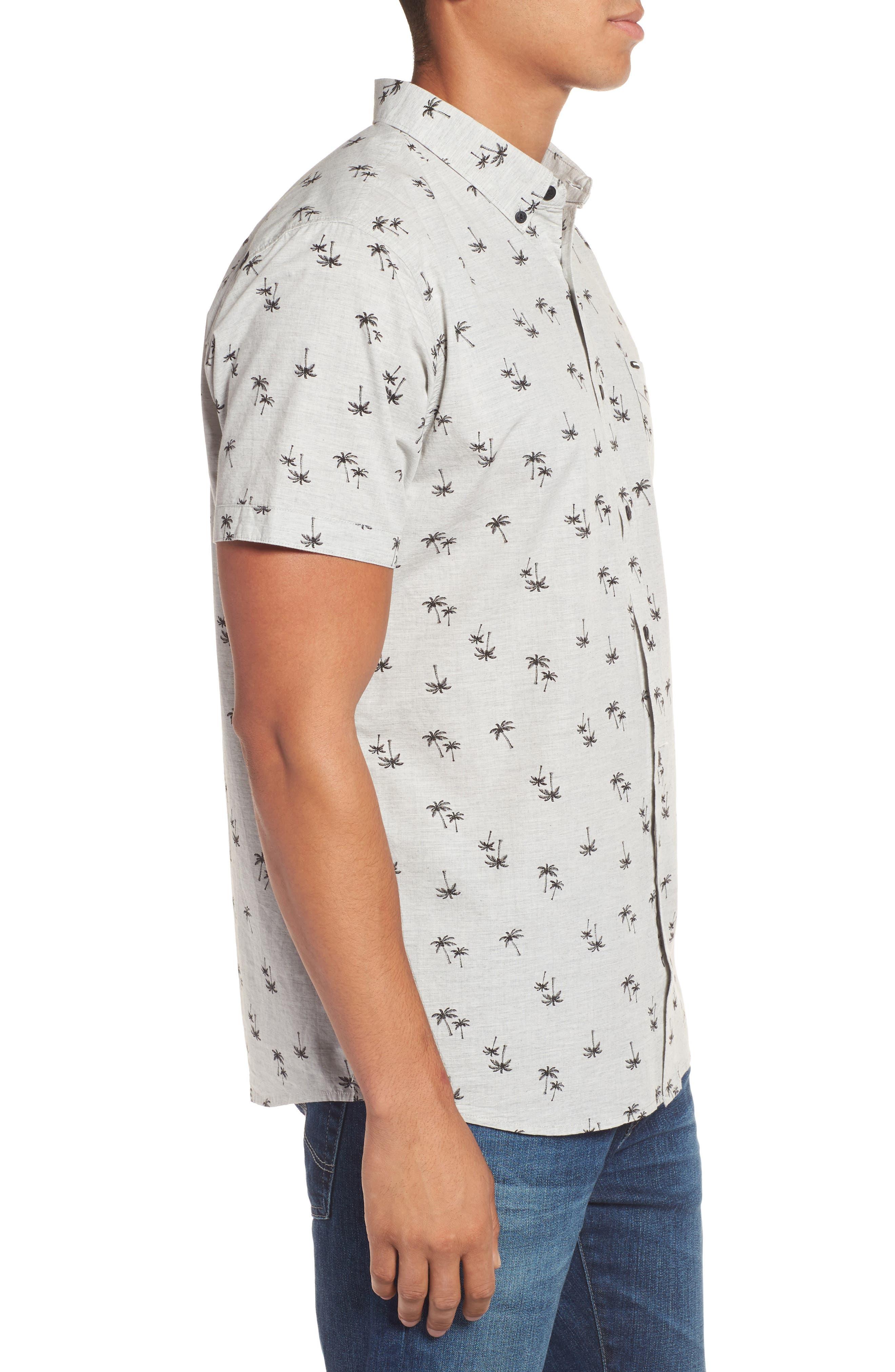 Palm Tree Print Woven Shirt,                             Alternate thumbnail 3, color,                             065