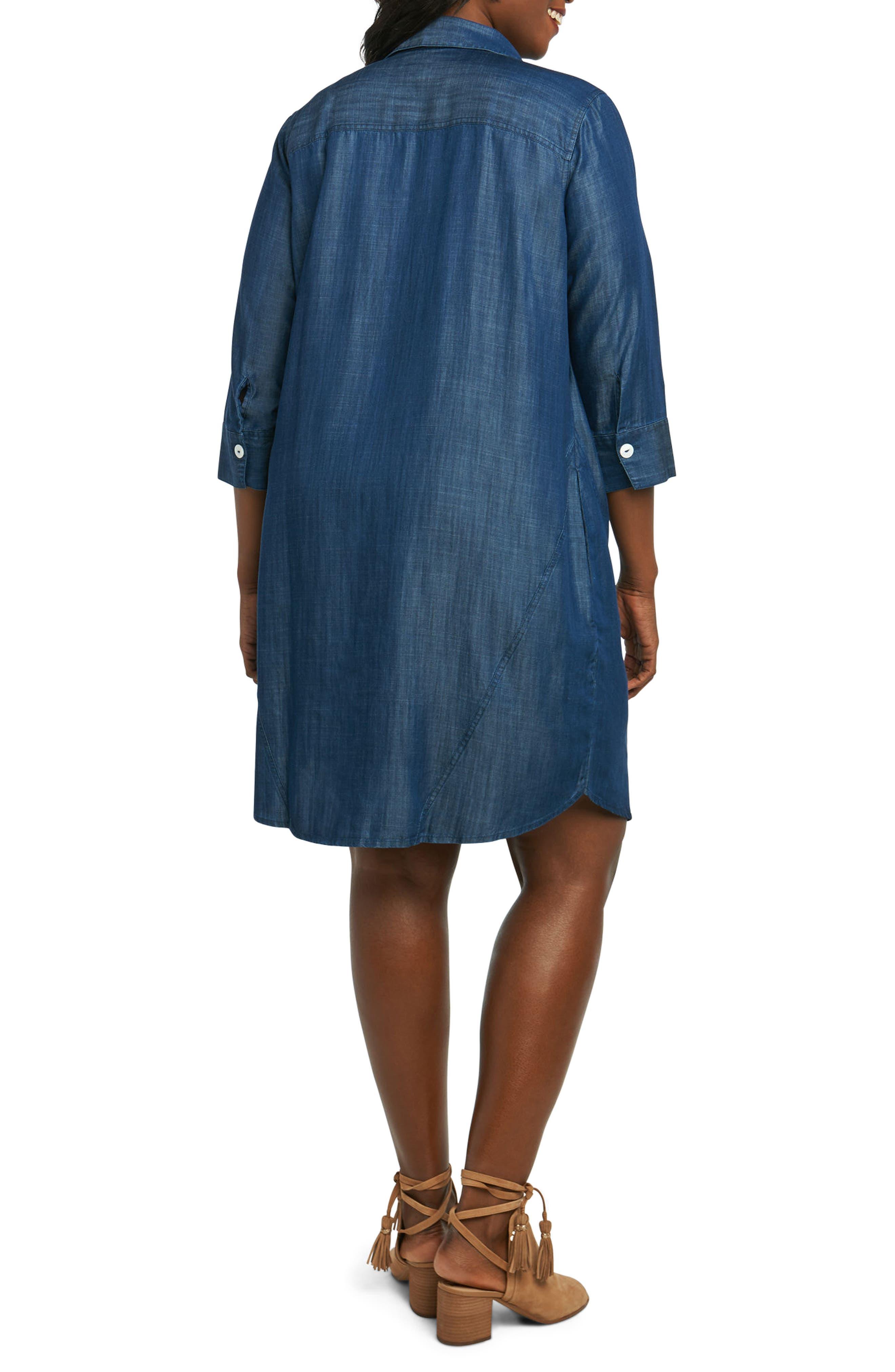 Nicolette Chambray Shift Dress,                             Alternate thumbnail 2, color,                             415