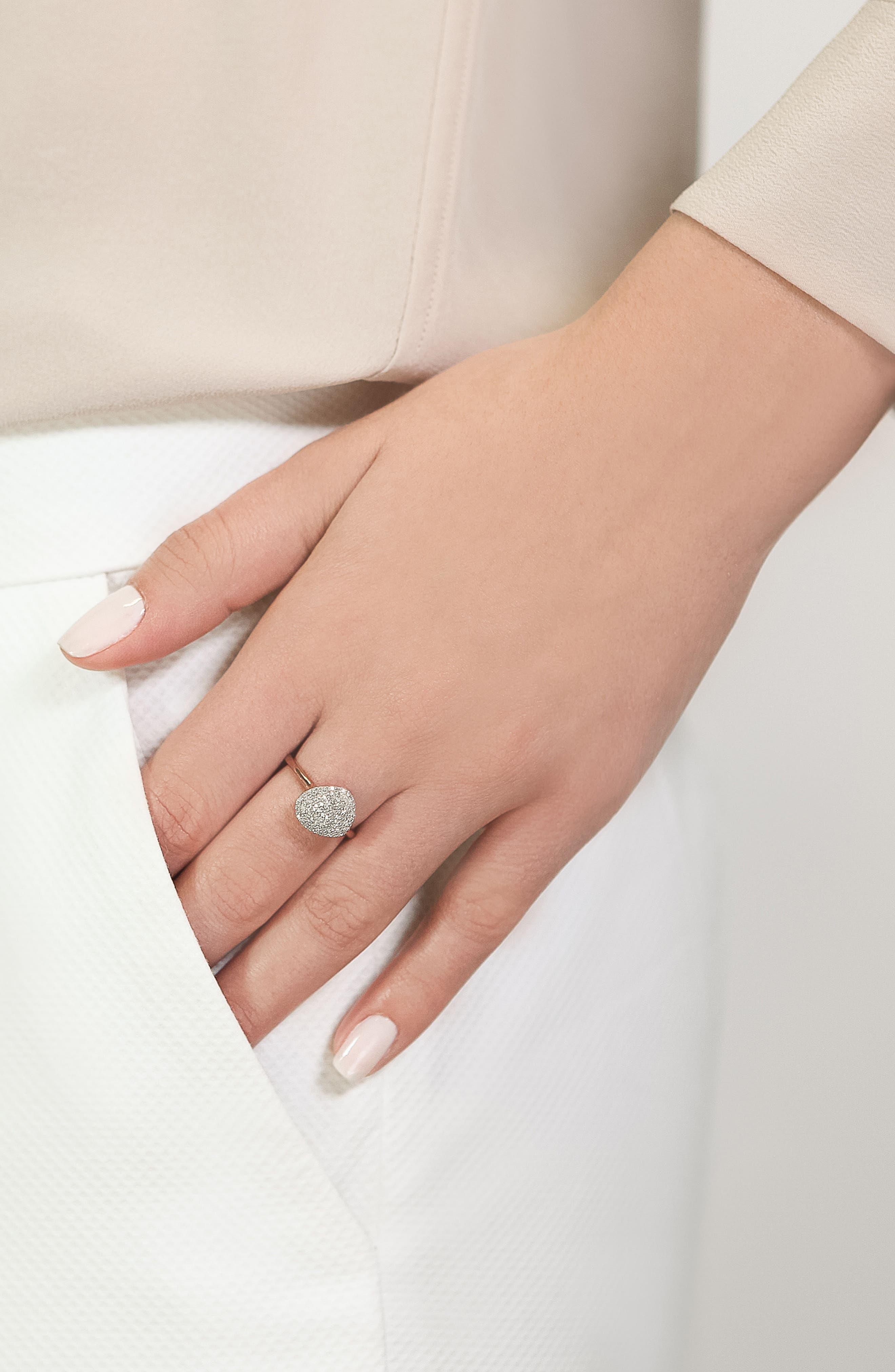 Nura Diamond Pebble Ring,                             Alternate thumbnail 4, color,                             ROSE GOLD/ DIAMOND