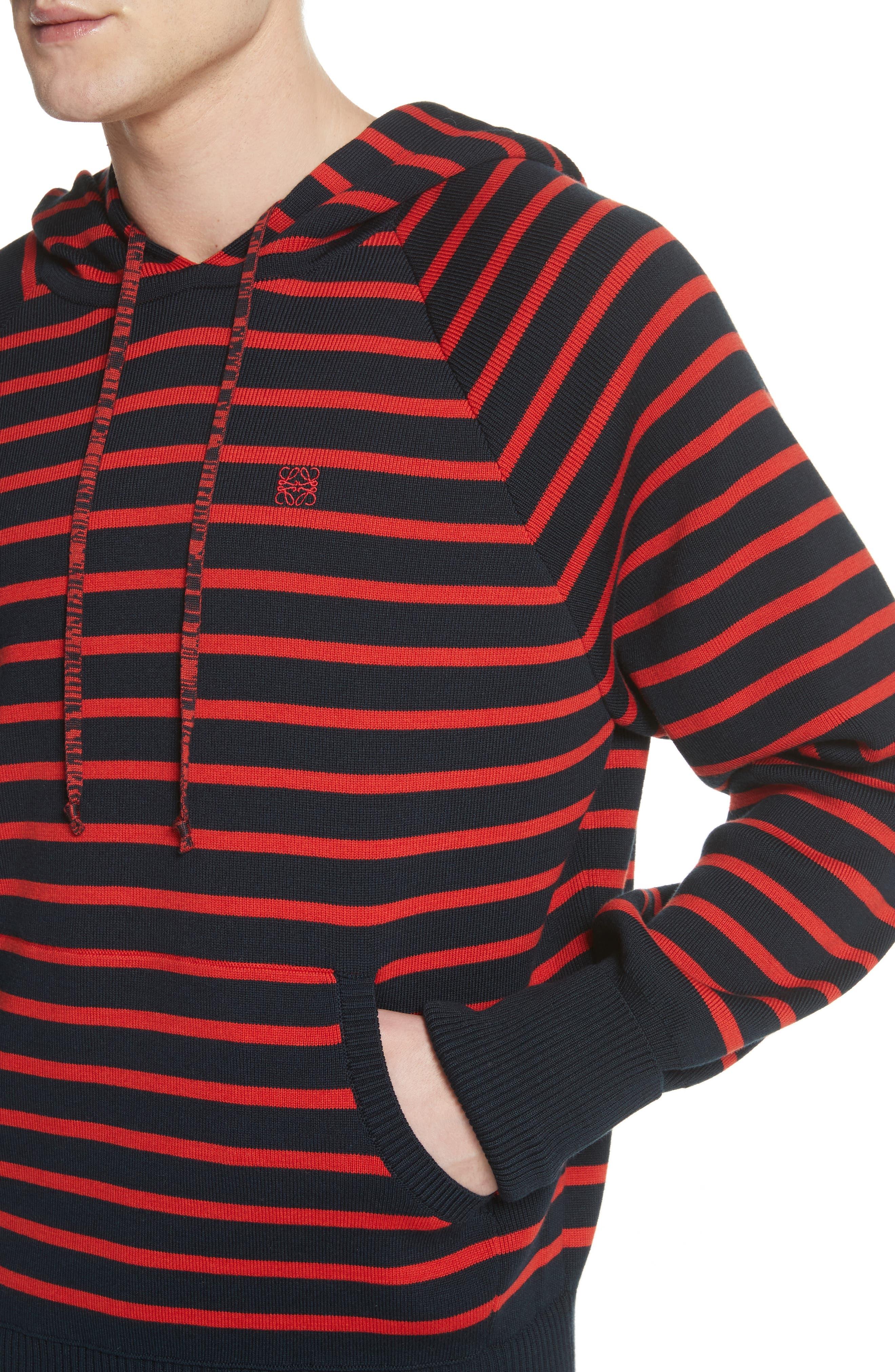 Stripe Wool Blend Hoodie,                             Alternate thumbnail 4, color,