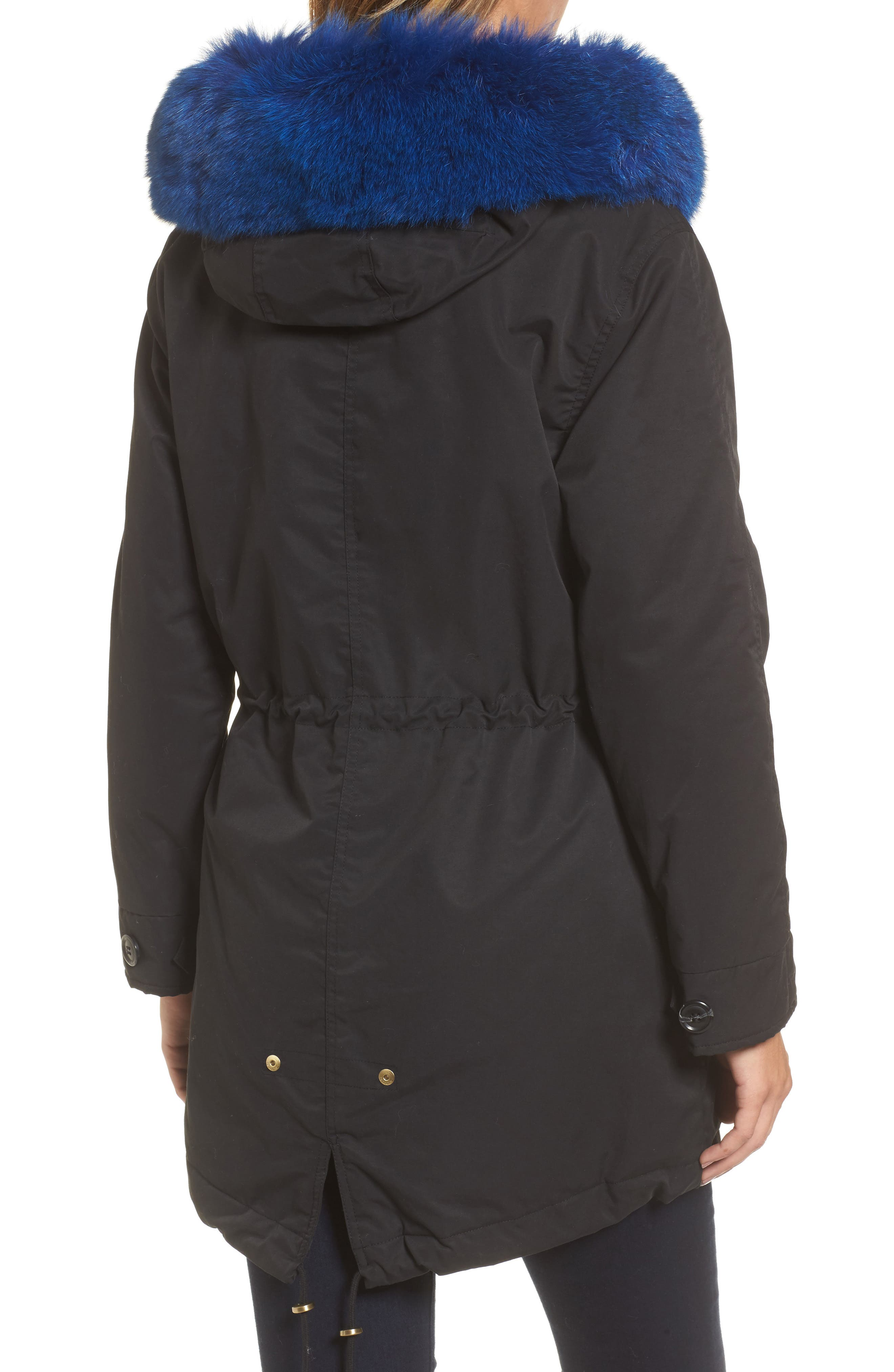 Hooded Cotton Parka with Genuine Fox Fur Trim,                             Alternate thumbnail 2, color,                             001