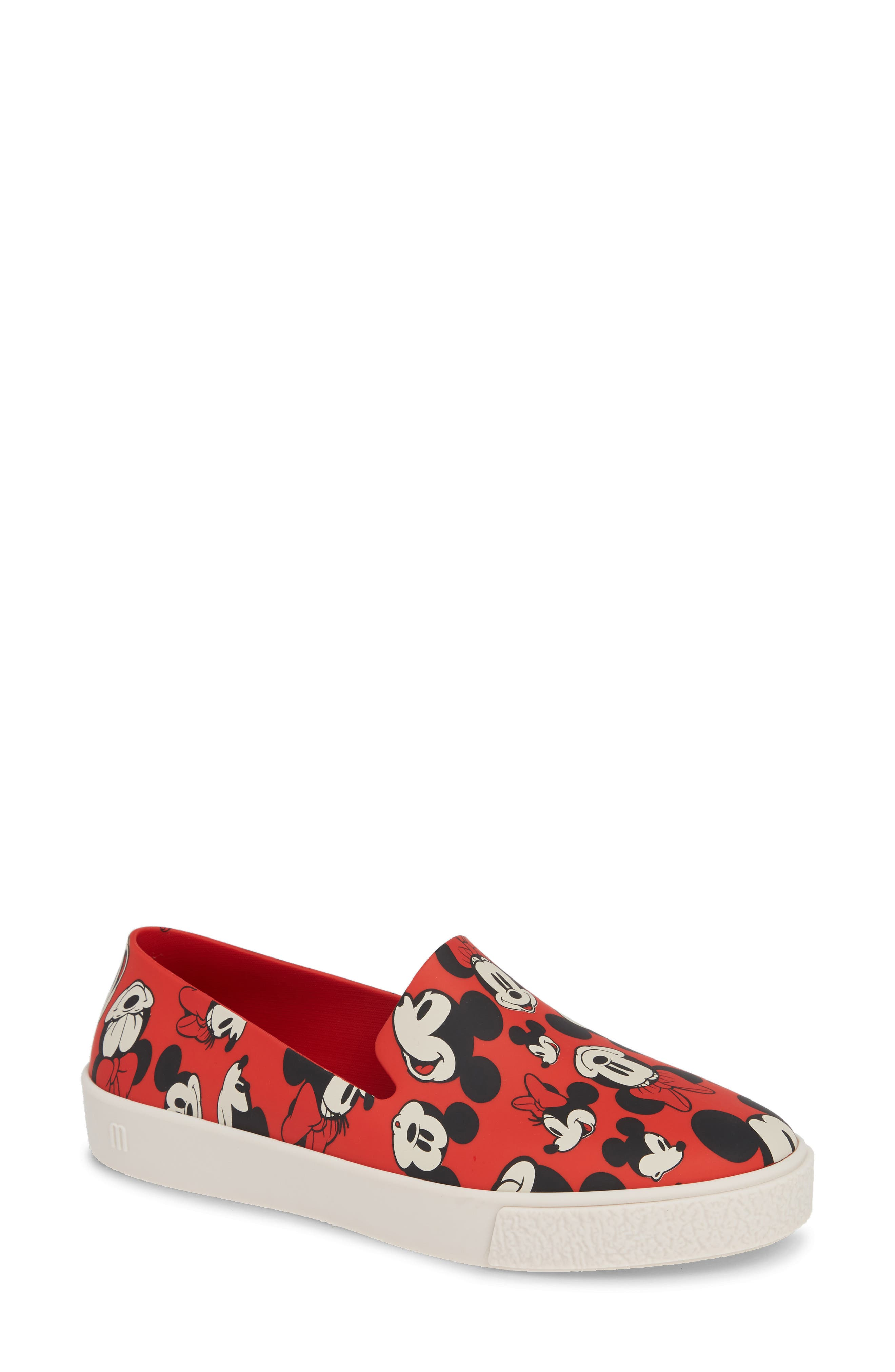 Ground Mickey Mouse Slip-On Sneaker,                             Main thumbnail 1, color,                             RED/ WHITE FABRIC