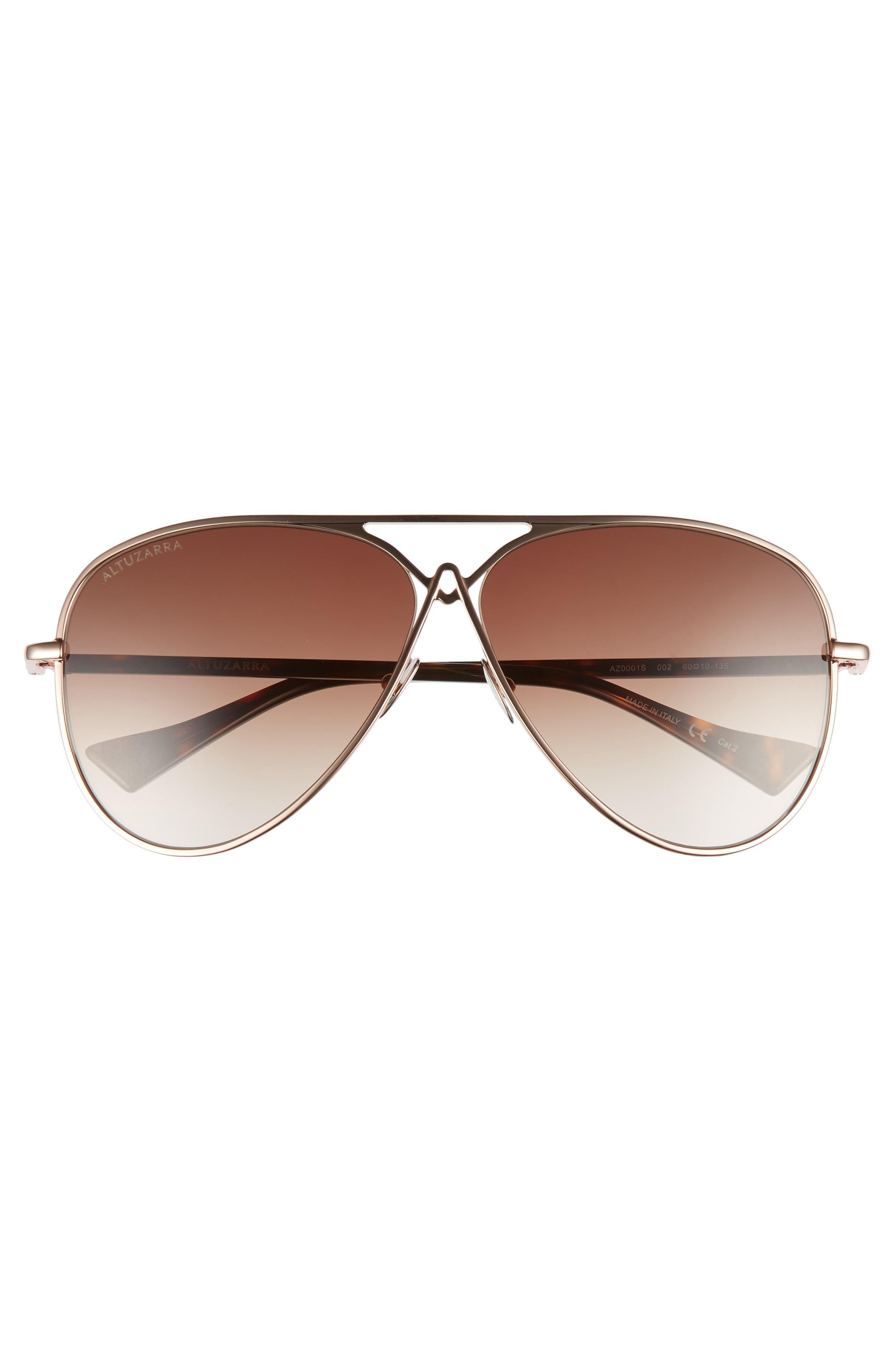 60mm Metal Aviator Sunglasses,                             Alternate thumbnail 3, color,                             ROSE GOLD