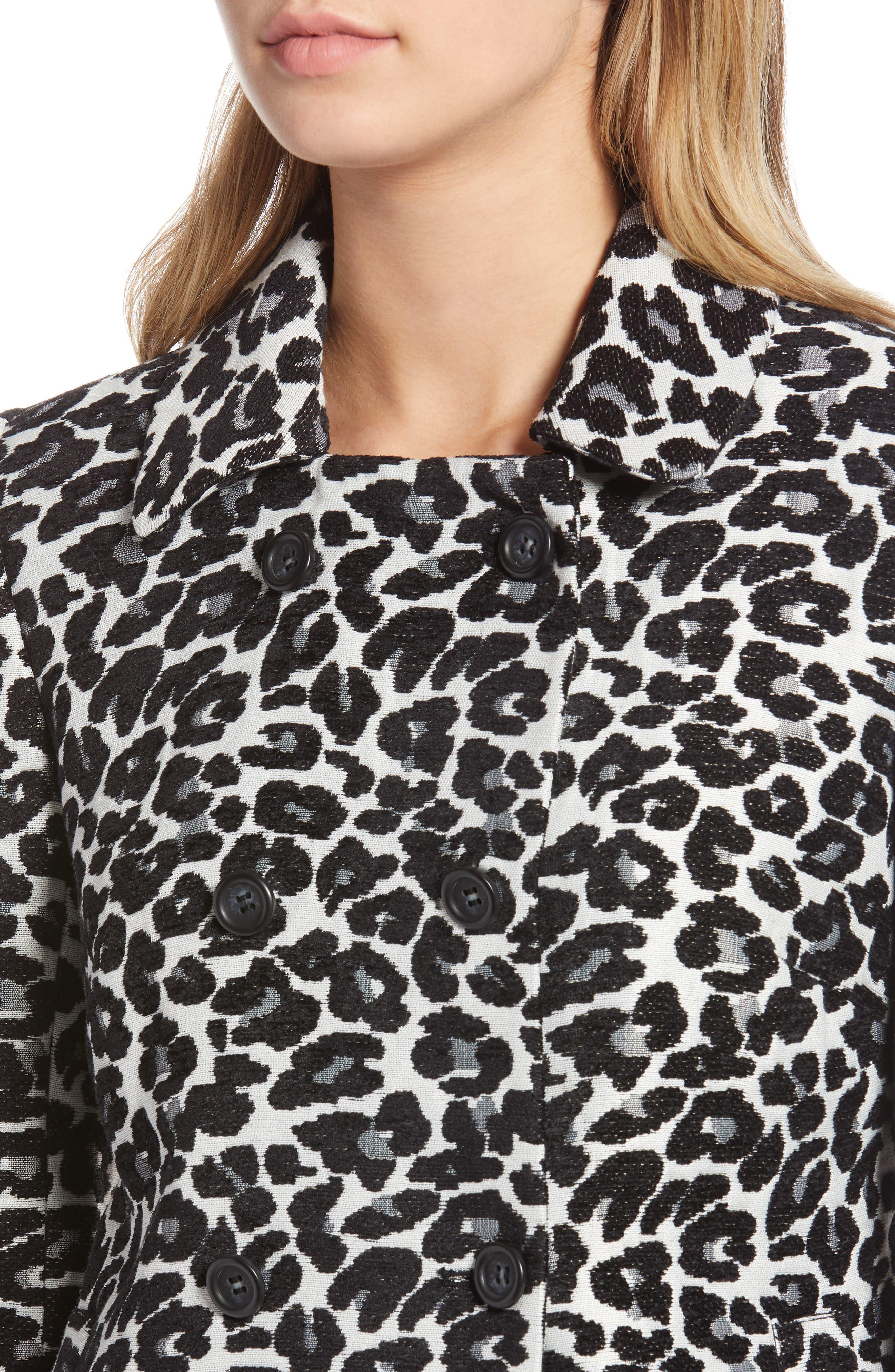 Leopard Coat,                             Alternate thumbnail 4, color,                             BLACK- WHITE LEOPARD