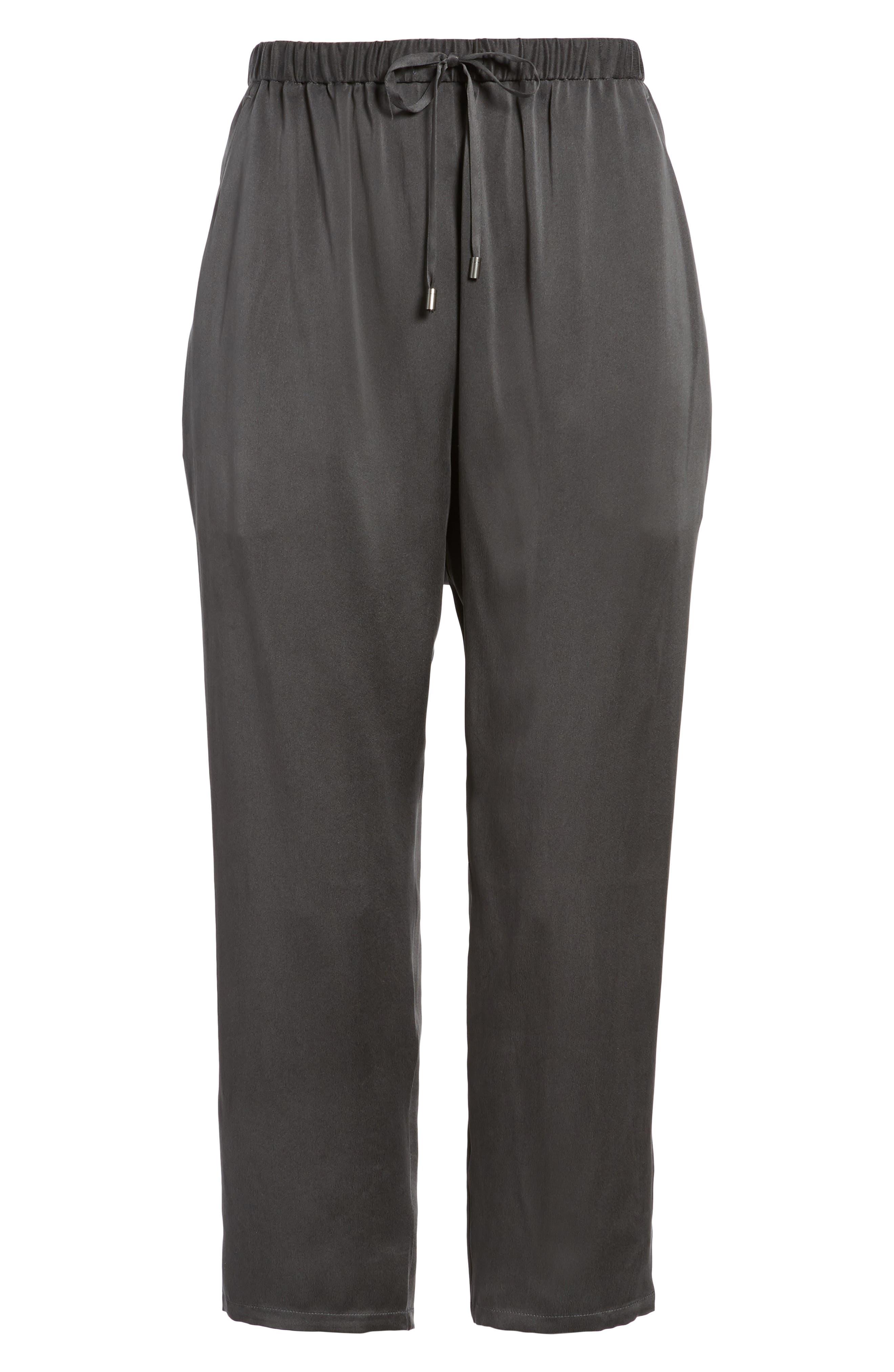 Slouchy Silk Crop Pants,                             Alternate thumbnail 7, color,                             025