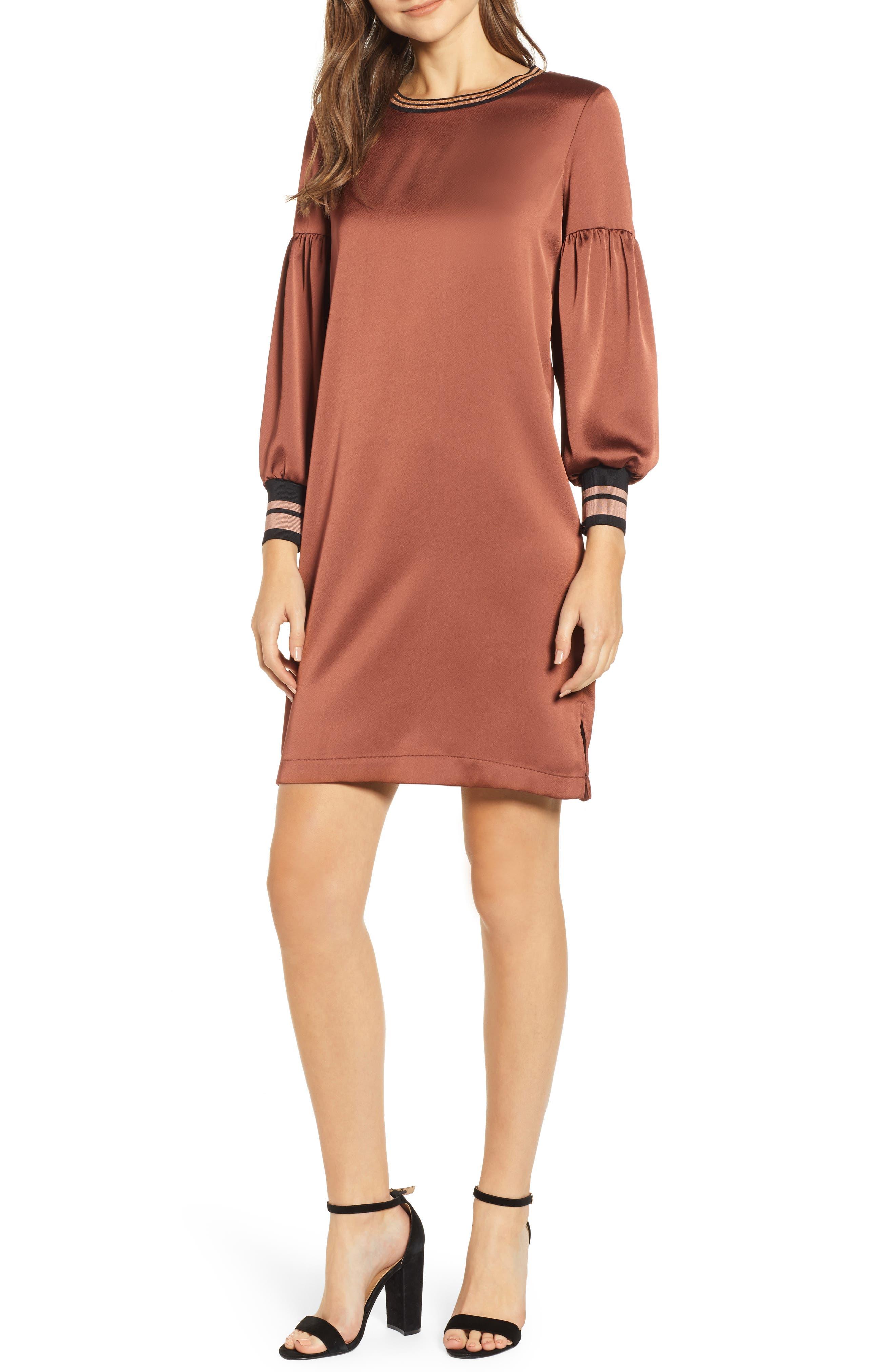SCOTCH & SODA Voluminous Sleeve Shift Dress in Brick