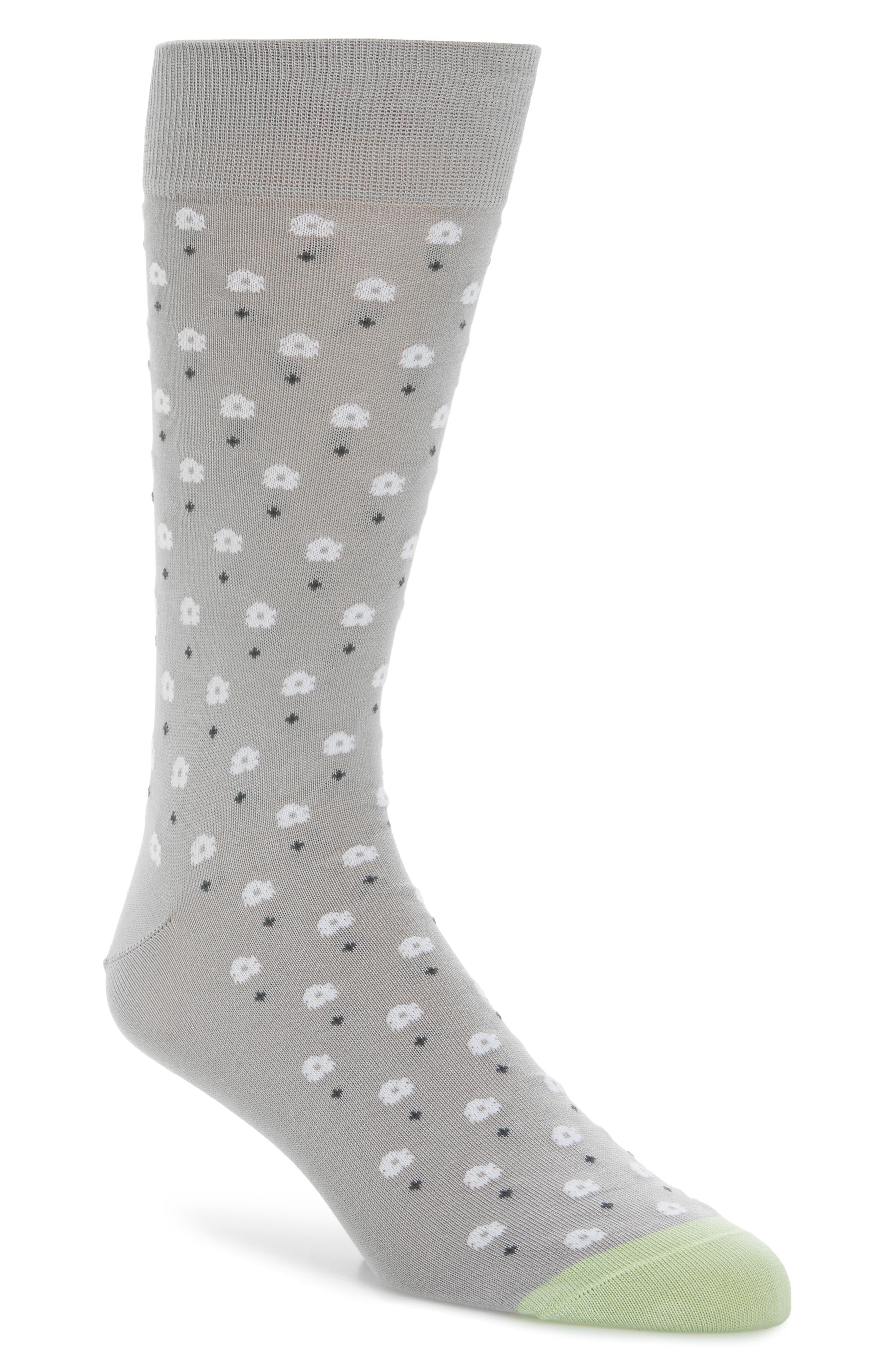 Dot Floral Socks,                         Main,                         color, 070