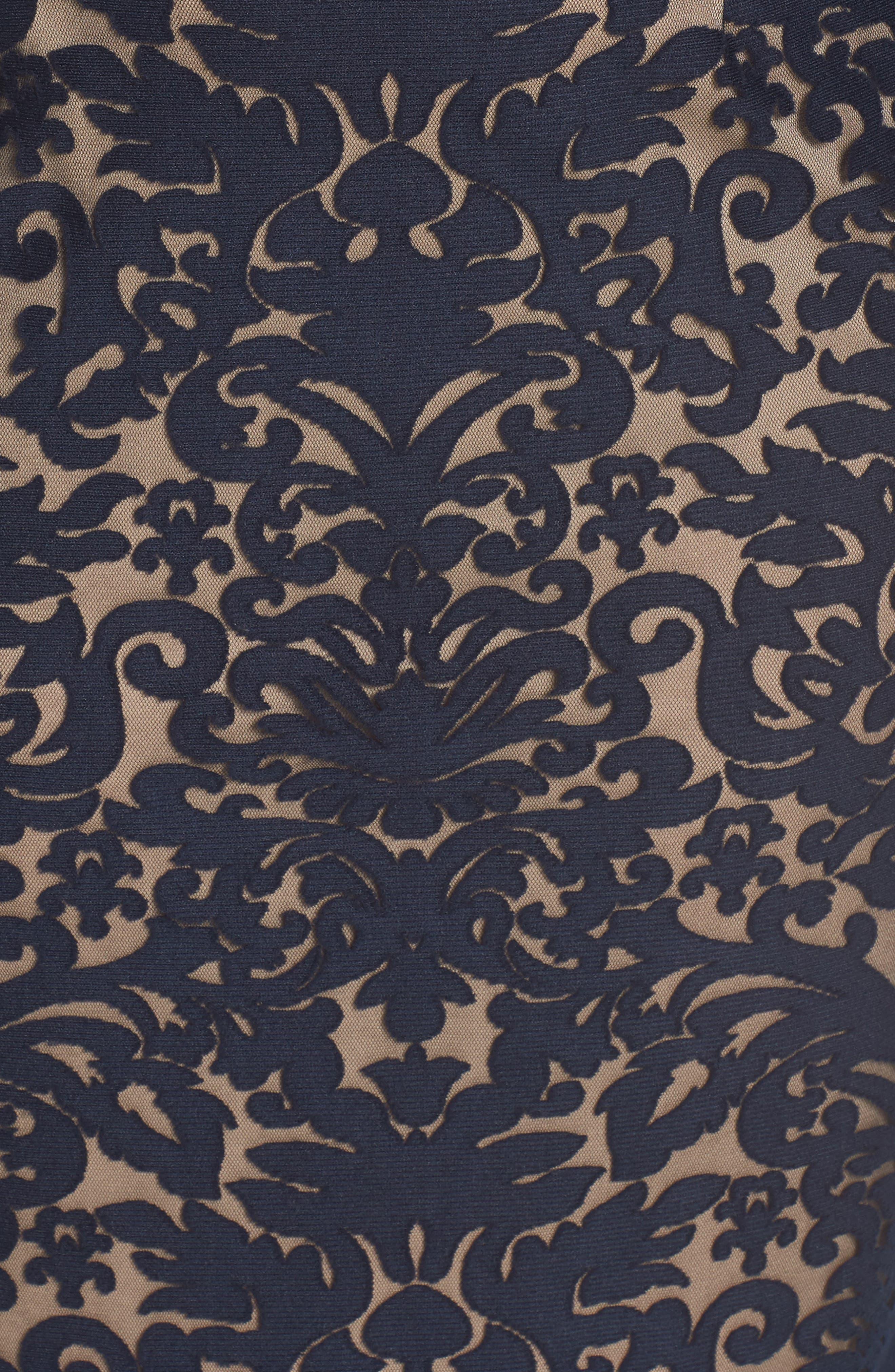 Bell Sleeve Off the Shoulder Burnout Lace Dress,                             Alternate thumbnail 5, color,                             401