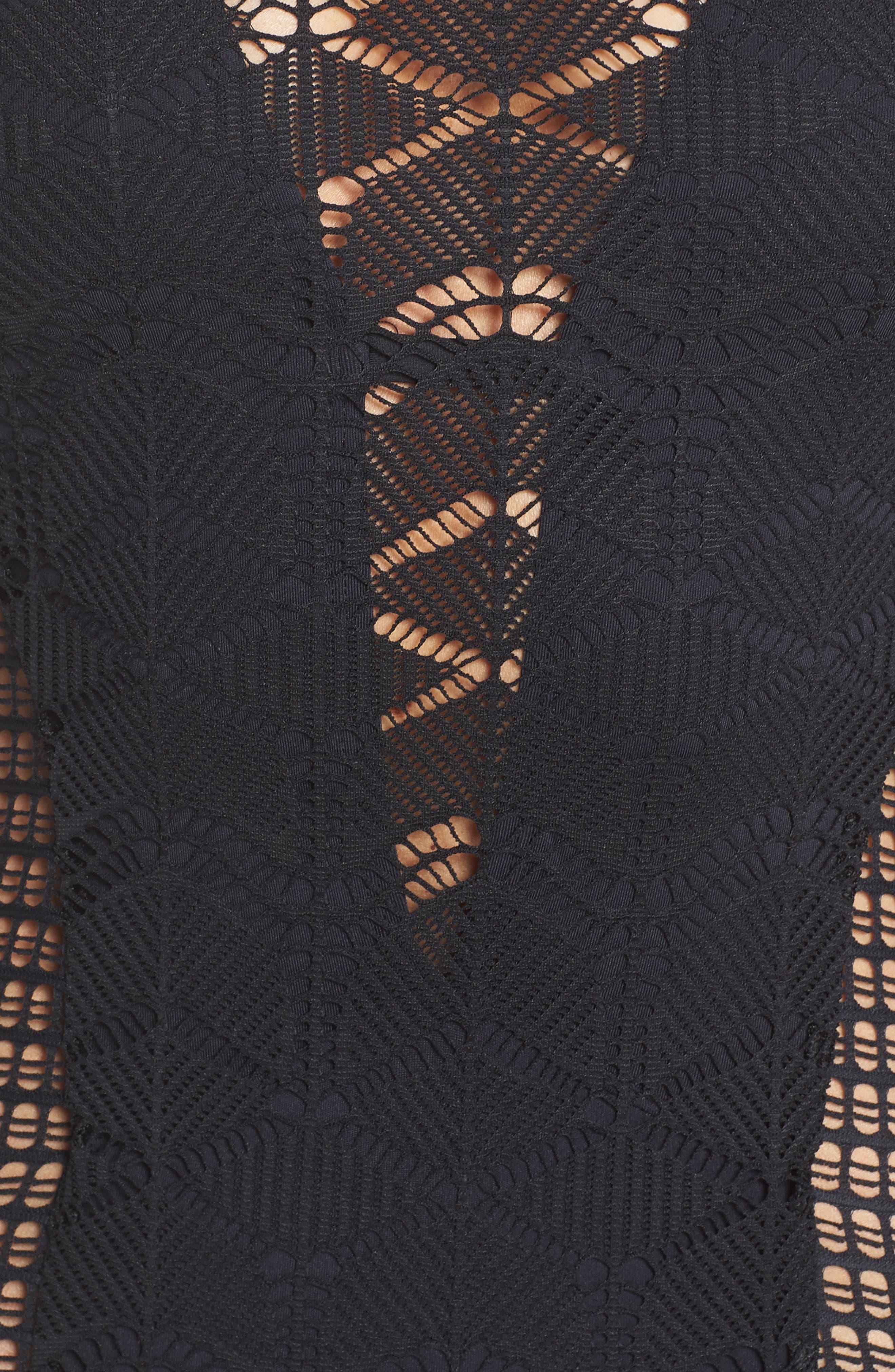 LA BLANCA,                             Crochet One-Piece Swimsuit,                             Alternate thumbnail 5, color,                             BLACK