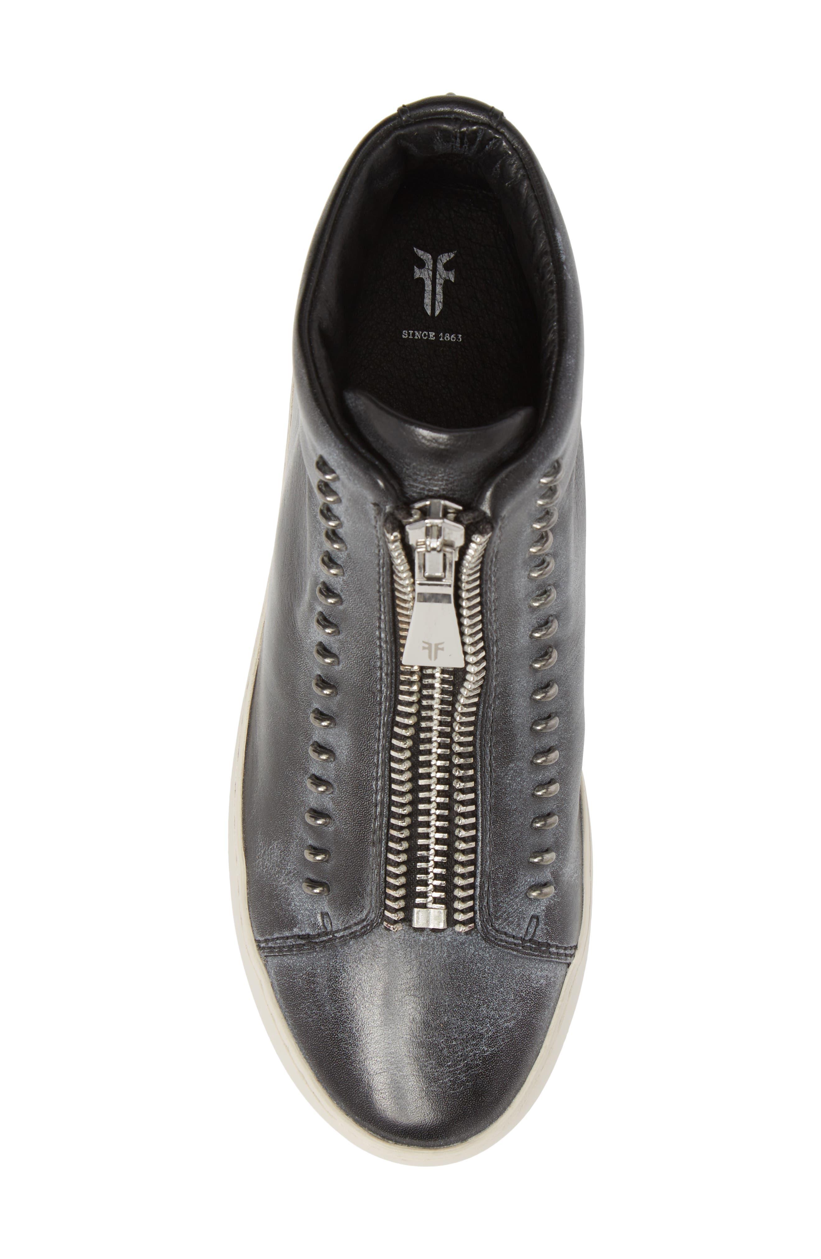 Lena Rebel Zip High Top Sneaker,                             Alternate thumbnail 5, color,                             BLACK