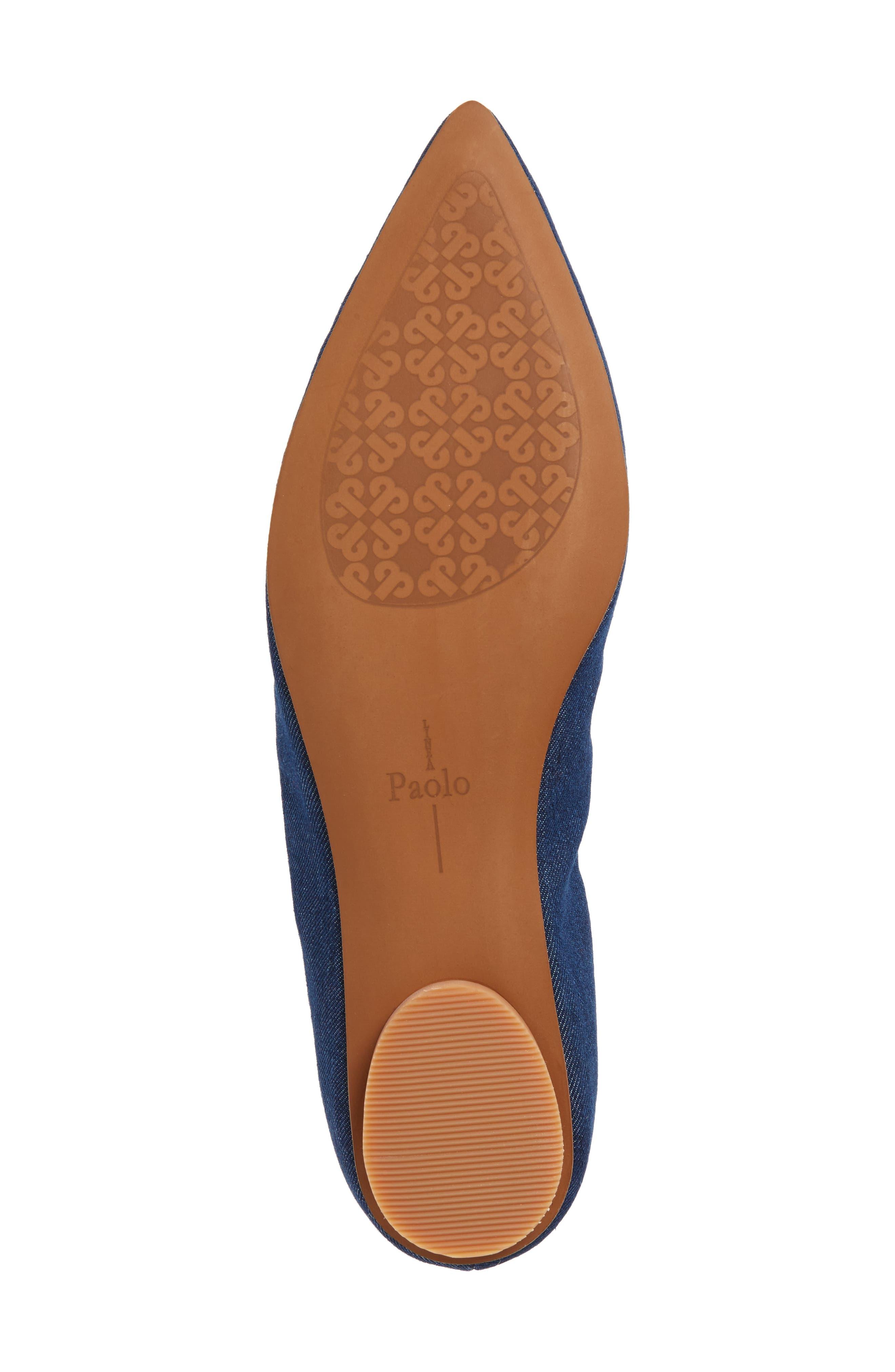 Nadia Embellished Pointy Toe Flat,                             Alternate thumbnail 6, color,                             NAVY DENIM FABRIC