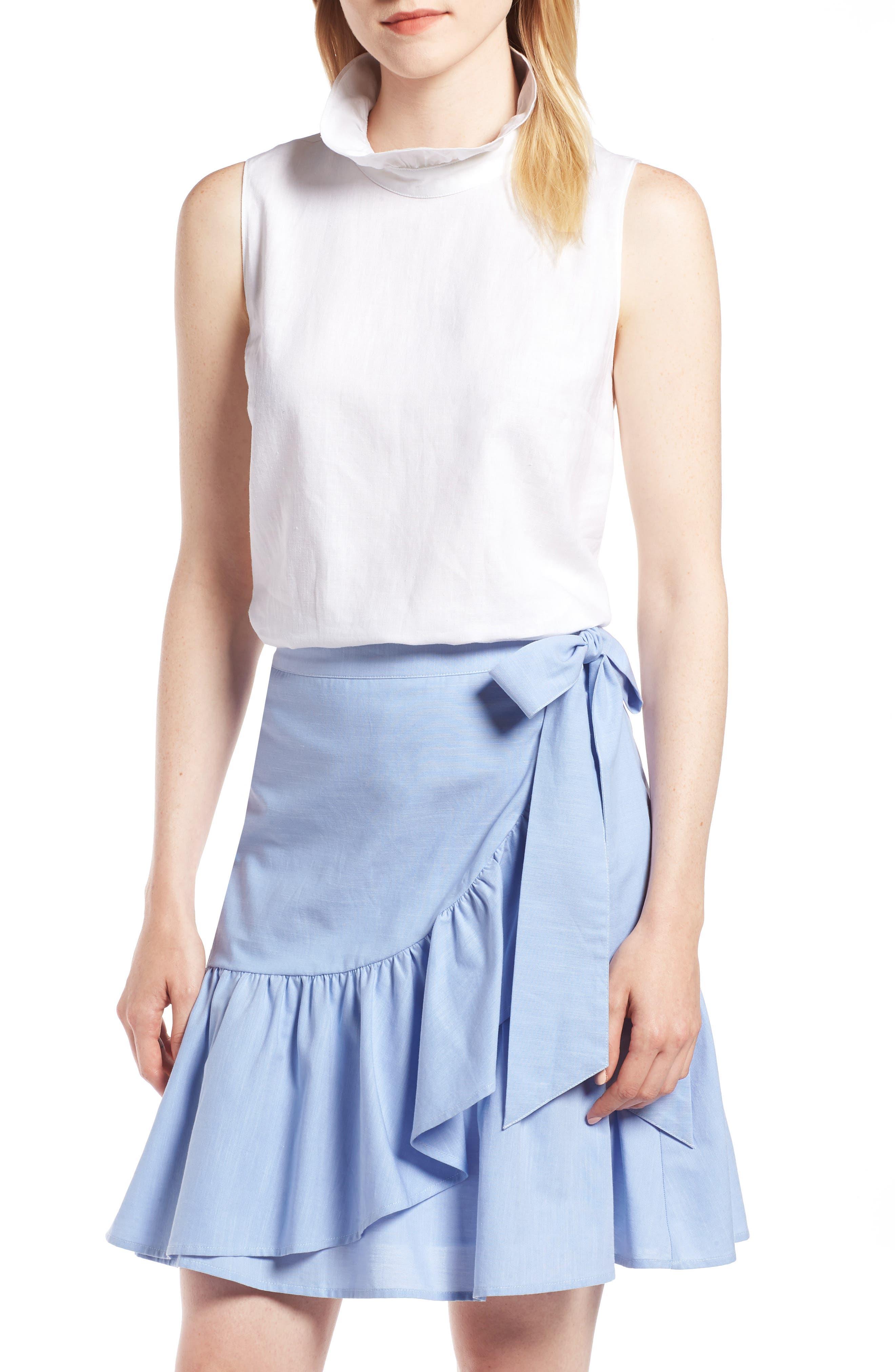 Ruffle Neck Linen Blend Sleeveless Blouse,                         Main,                         color, 100