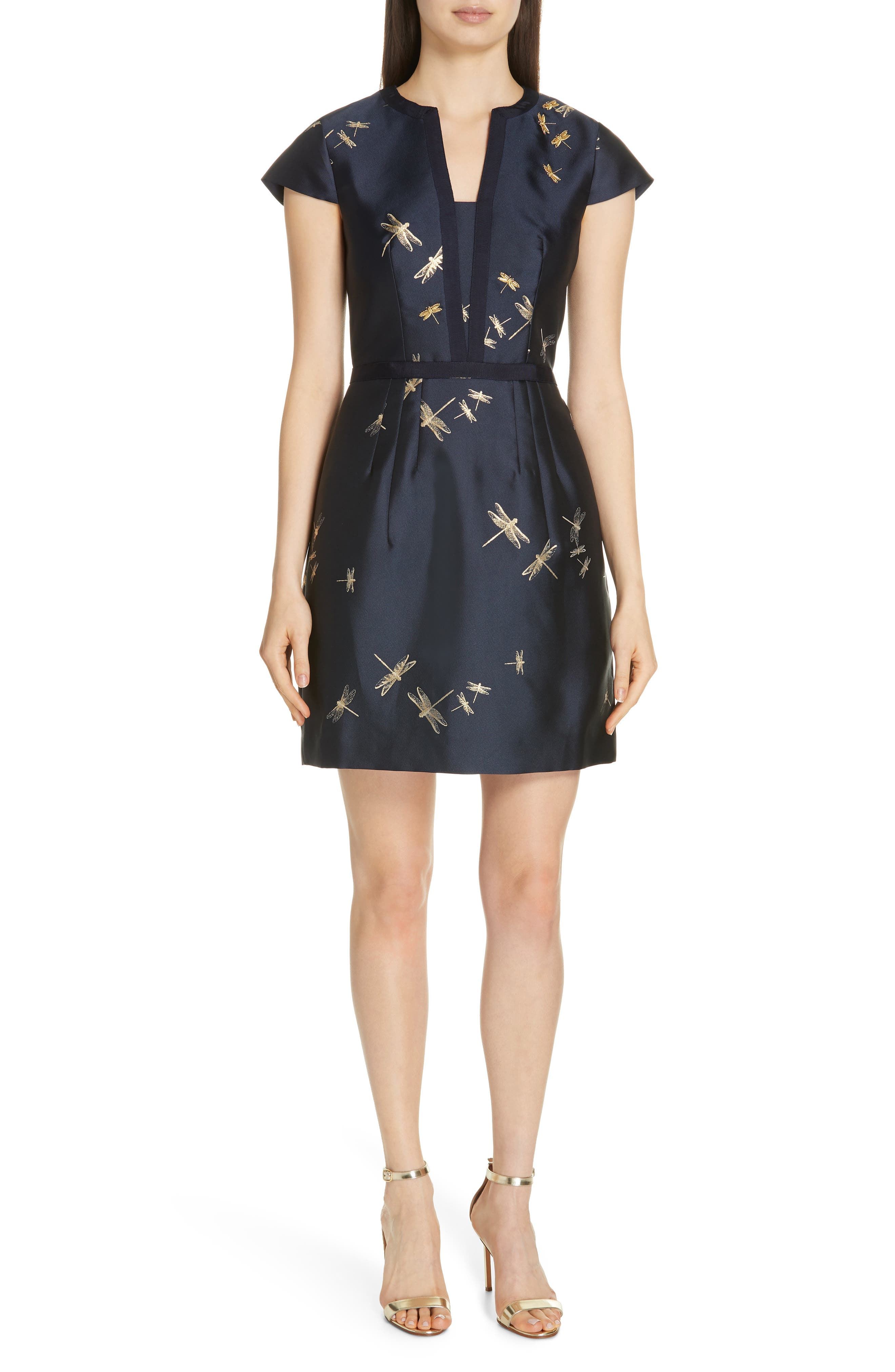 TED BAKER Hartty Dragonfly Jacquard Dress in Navy
