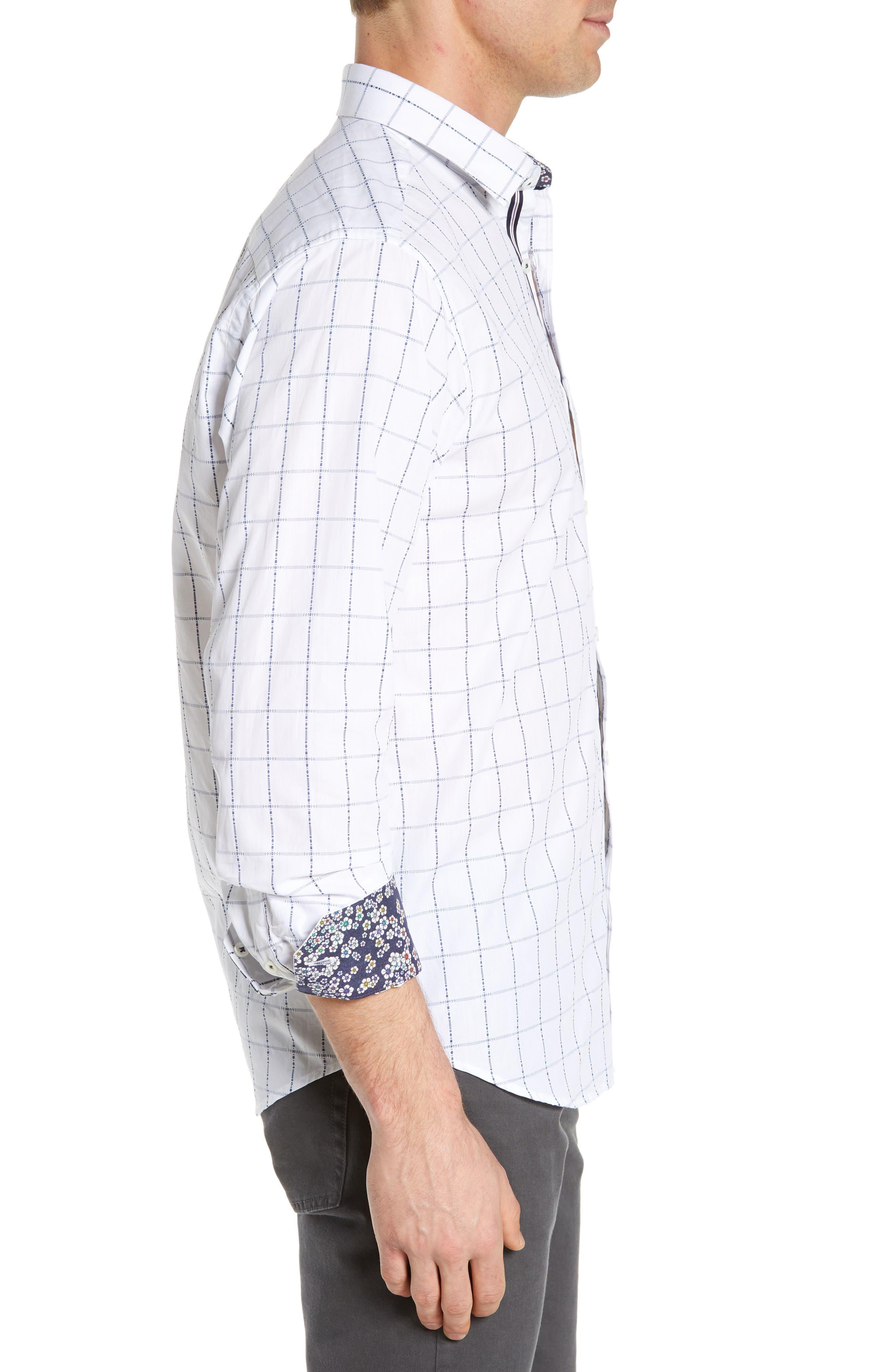 BUGATCHI,                             Classic Fit Grid Sport Shirt,                             Alternate thumbnail 4, color,                             SNOW