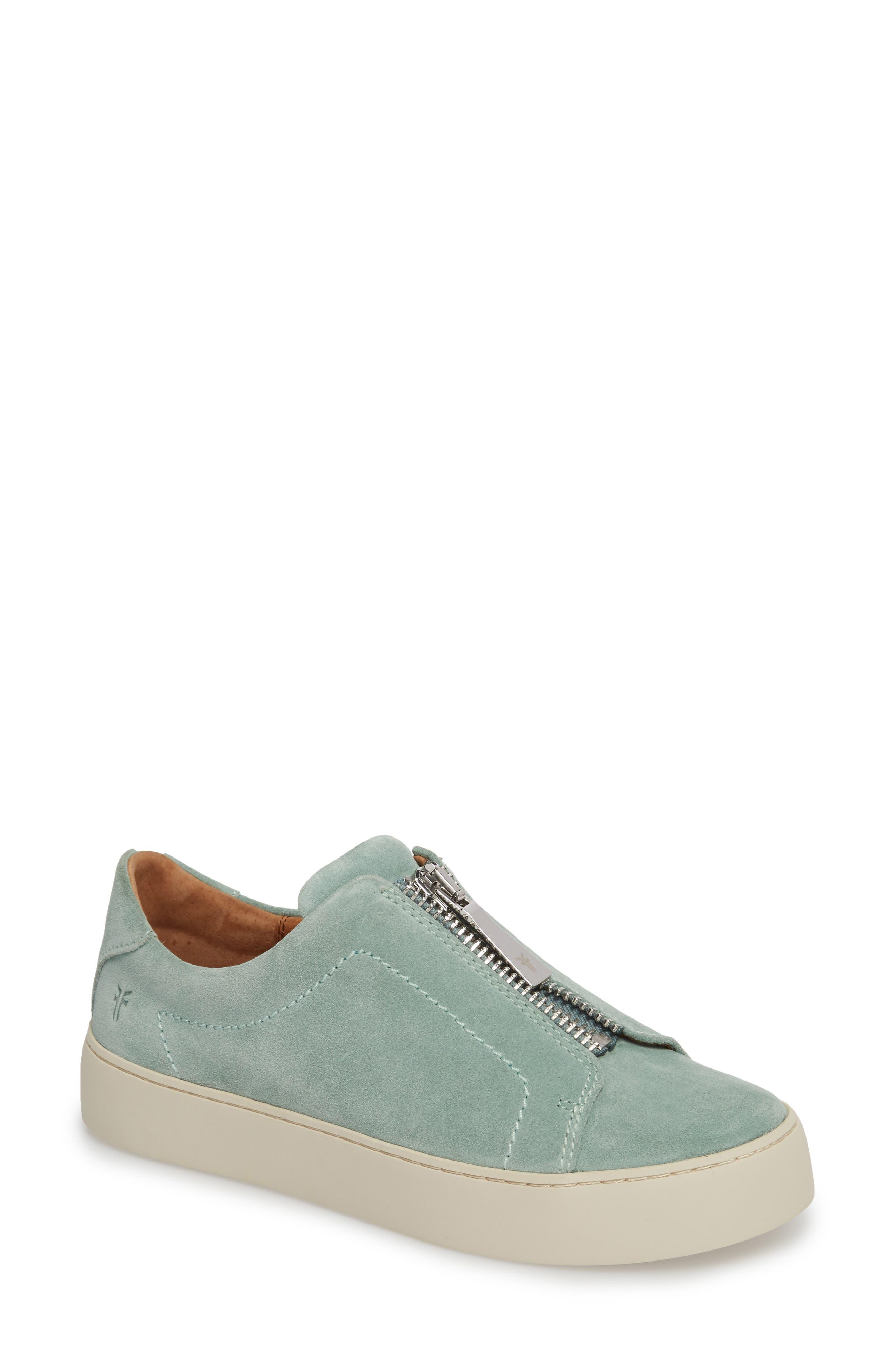 Lena Zip Sneaker,                         Main,                         color, MINT SUEDE