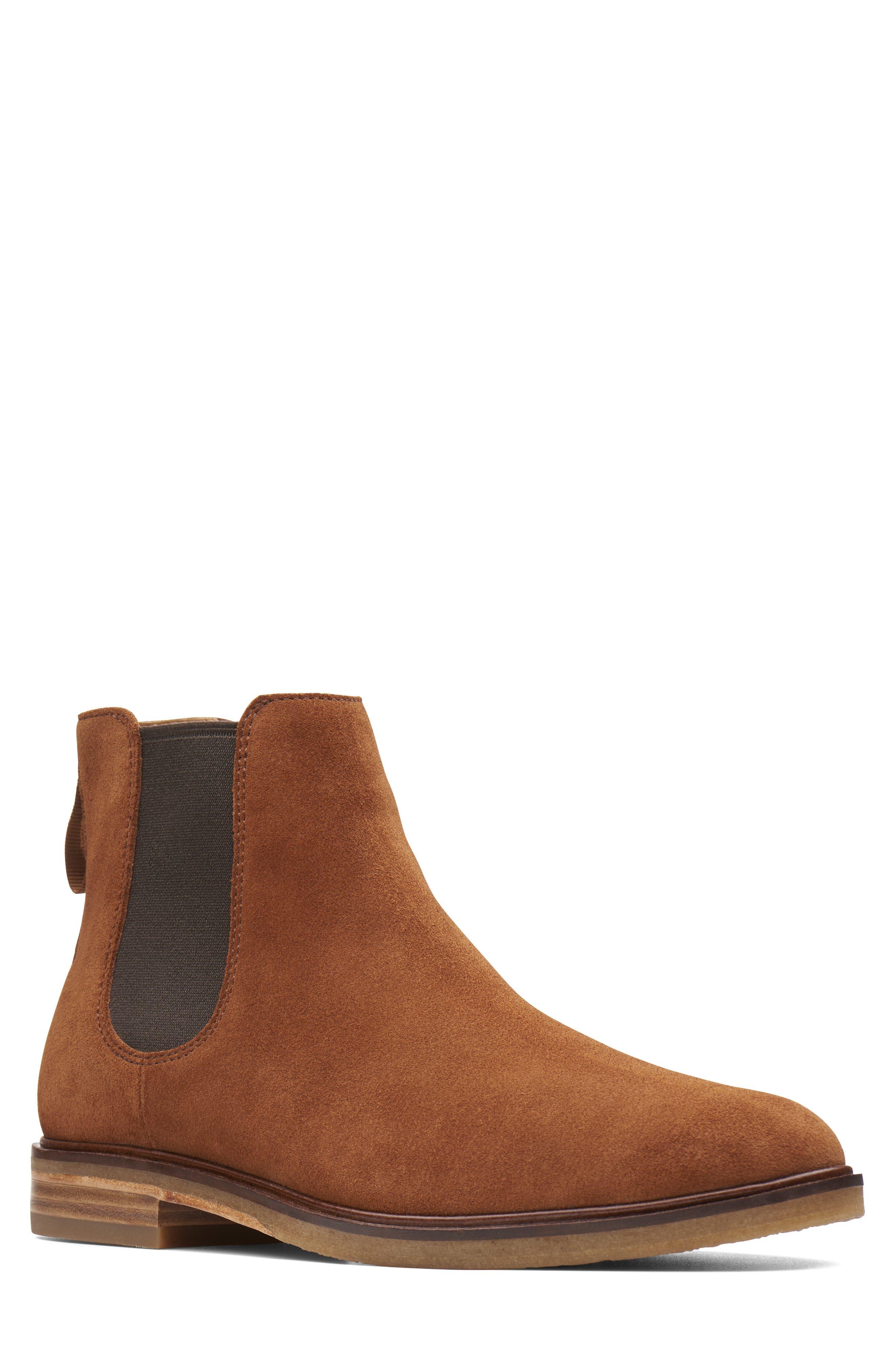 Clarkdale Gobi Chelsea Boot,                         Main,                         color, DARK TAN SUEDE