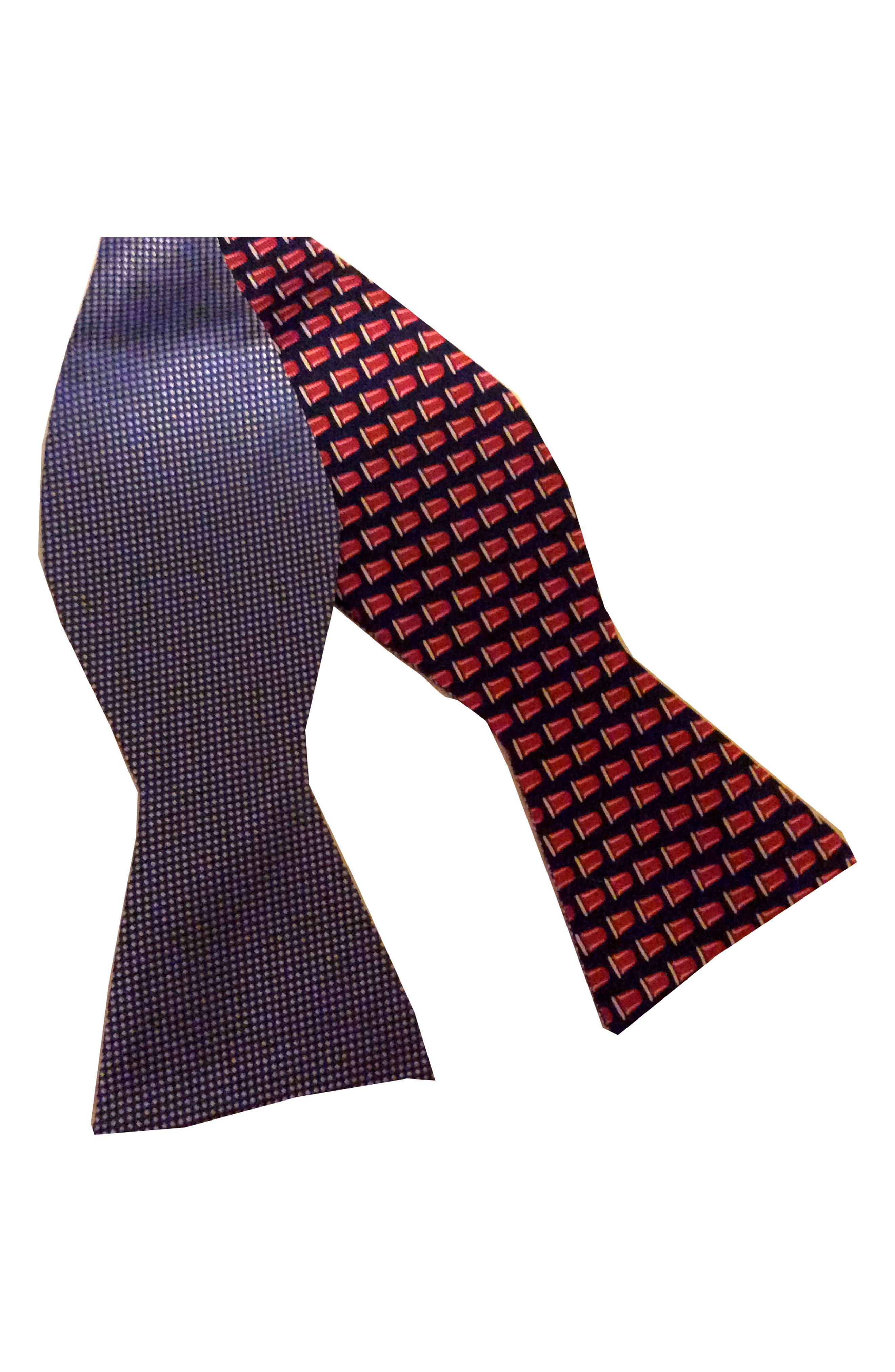 Mullet Reversible Silk Bow Tie,                             Alternate thumbnail 2, color,                             BLUE