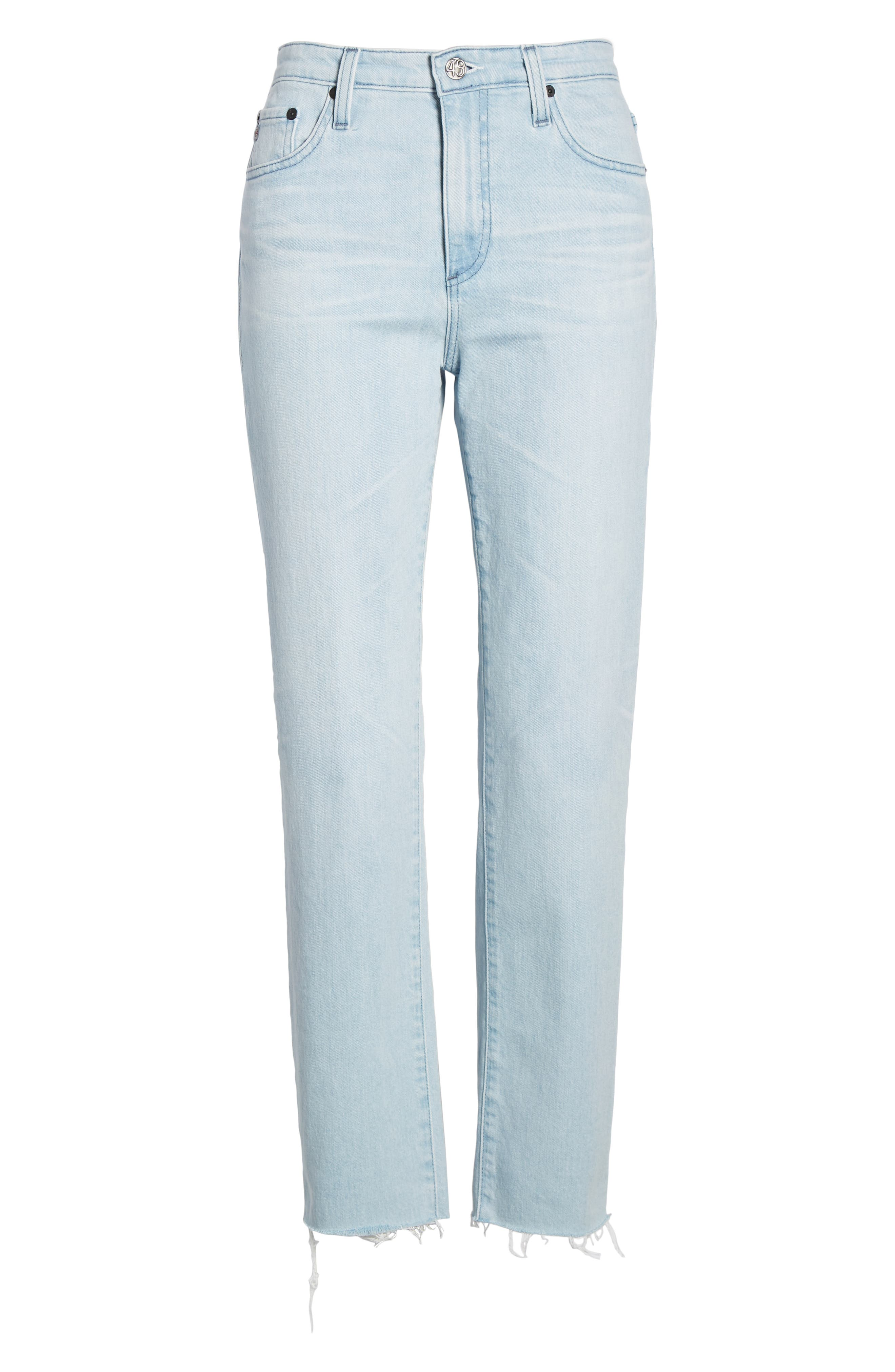 AG,                             The Isabelle High Waist Crop Straight Leg Jeans,                             Alternate thumbnail 7, color,                             26 YEARS SANGUINE