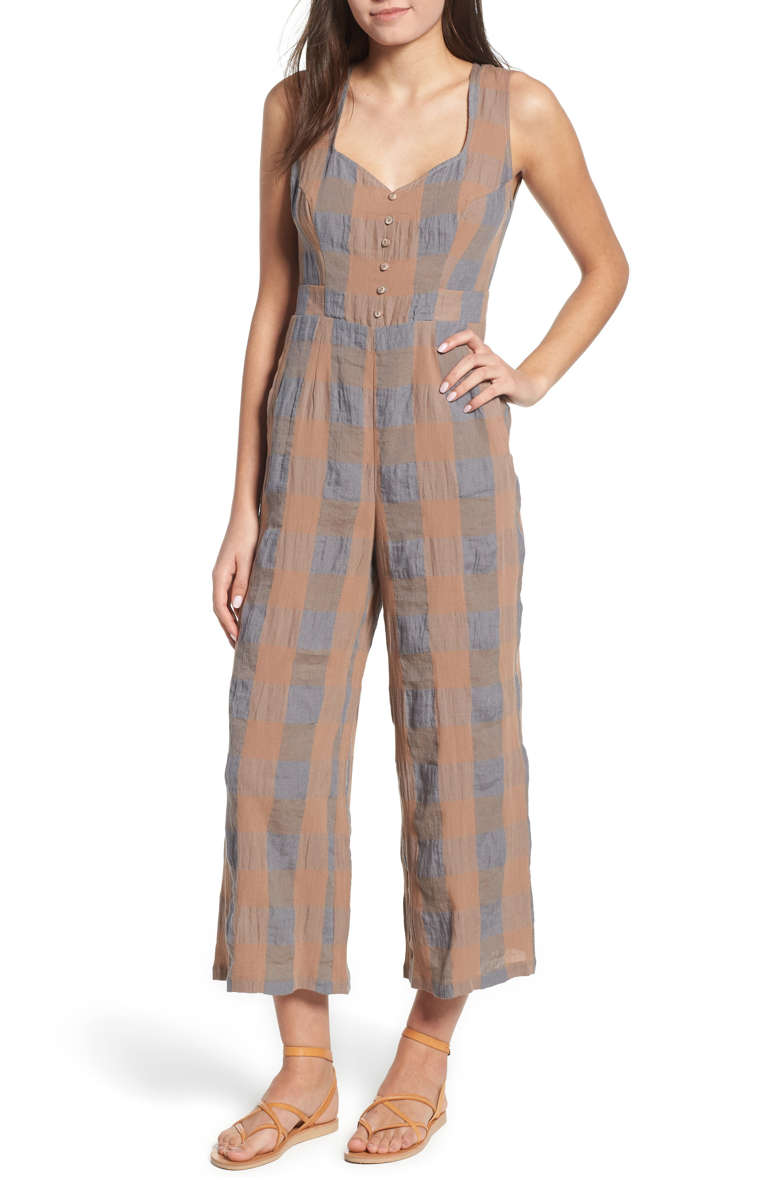 Frankie Check Linen Blend Jumpsuit,                             Main thumbnail 1, color,                             SMOKE AND BISCUIT