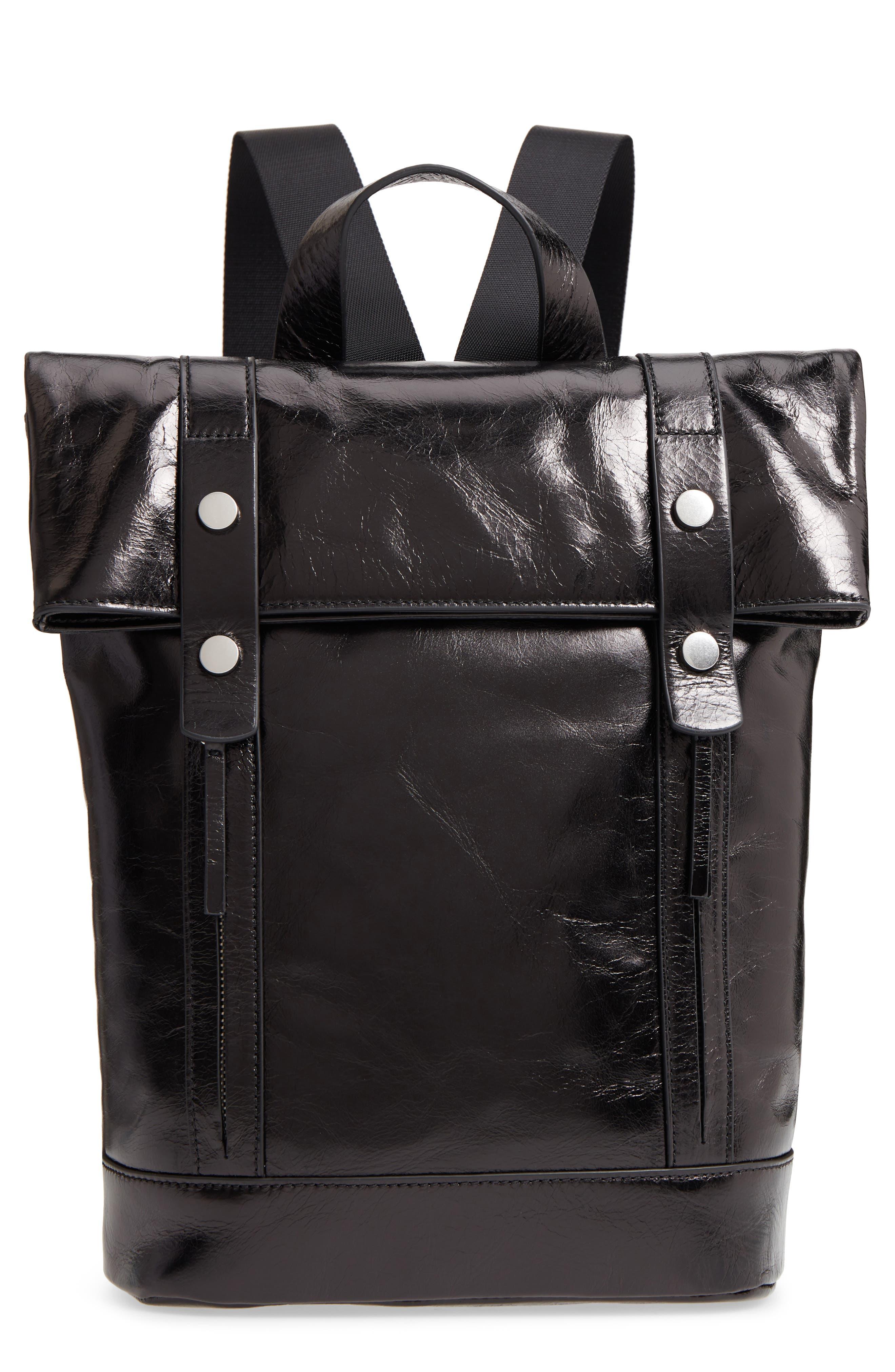 Remy Glazed Leather Backpack,                         Main,                         color, BLACK