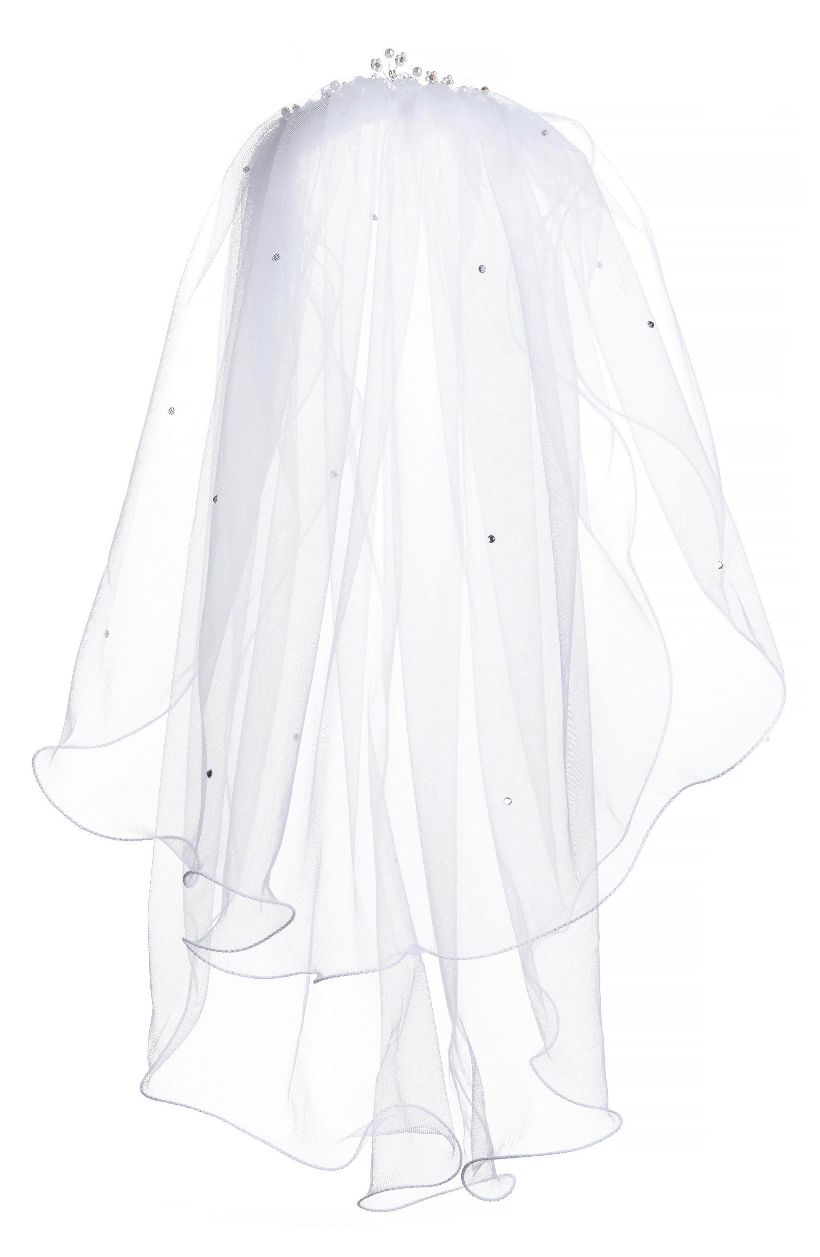 Imitation Pearl Crown & Veil,                             Alternate thumbnail 3, color,                             WHITE