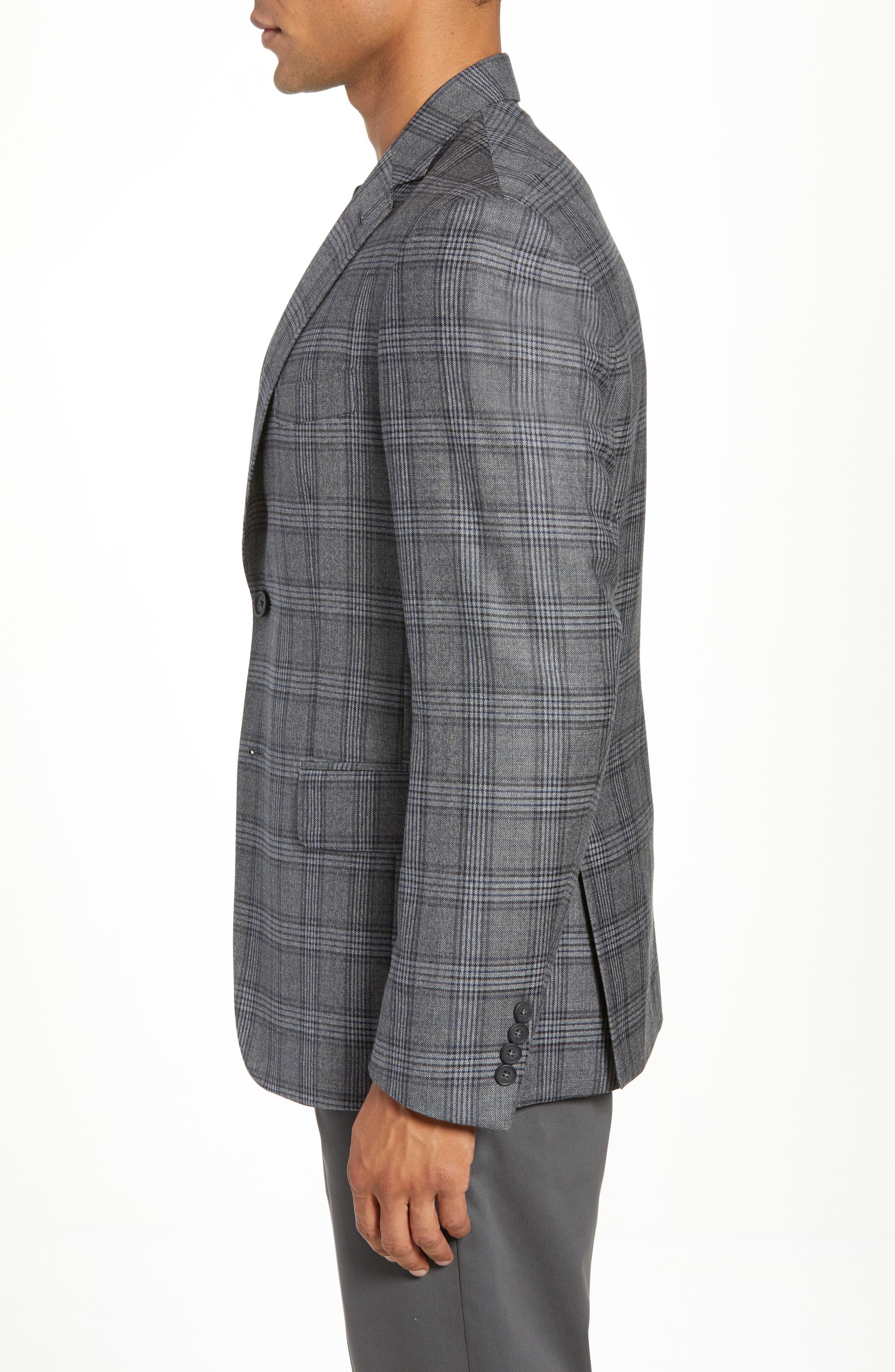 Traditional Fit Plaid Wool Sport Coat,                             Alternate thumbnail 3, color,                             GREY
