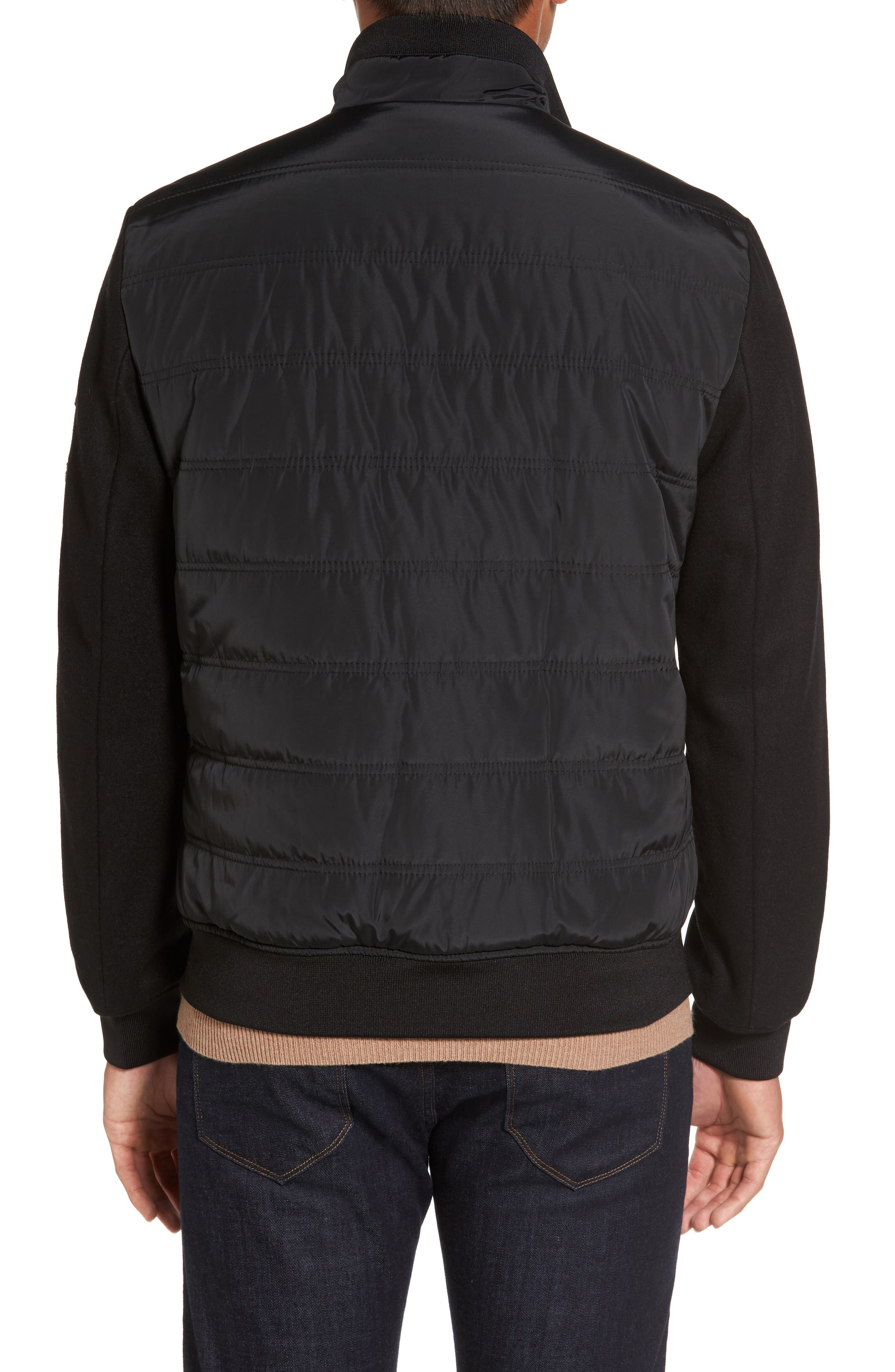 Mixed Media Quilted Jacket,                             Alternate thumbnail 2, color,                             BLACK