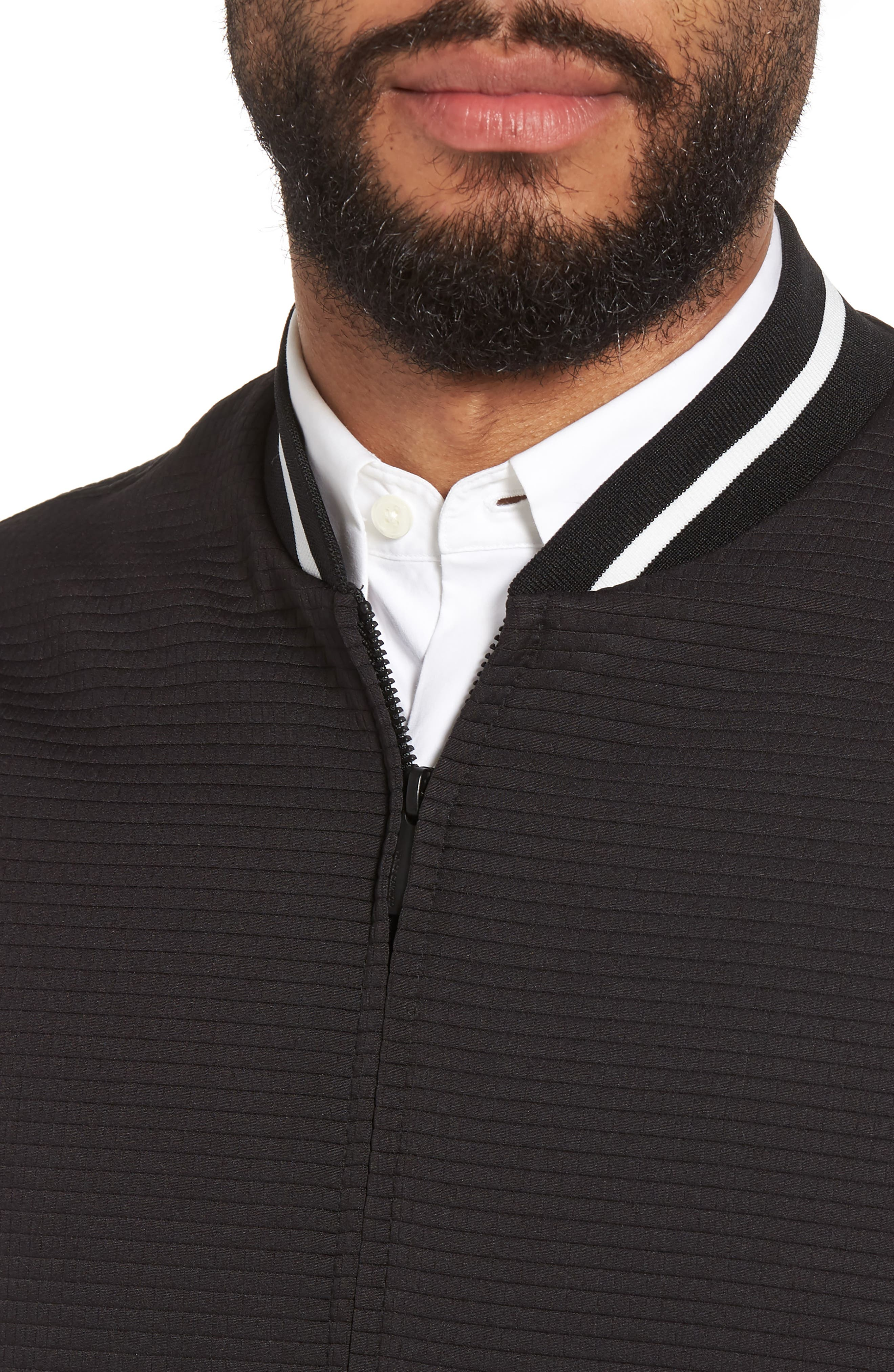 Slim Fit Bomber Jacket,                             Alternate thumbnail 4, color,                             BLACK SOLID