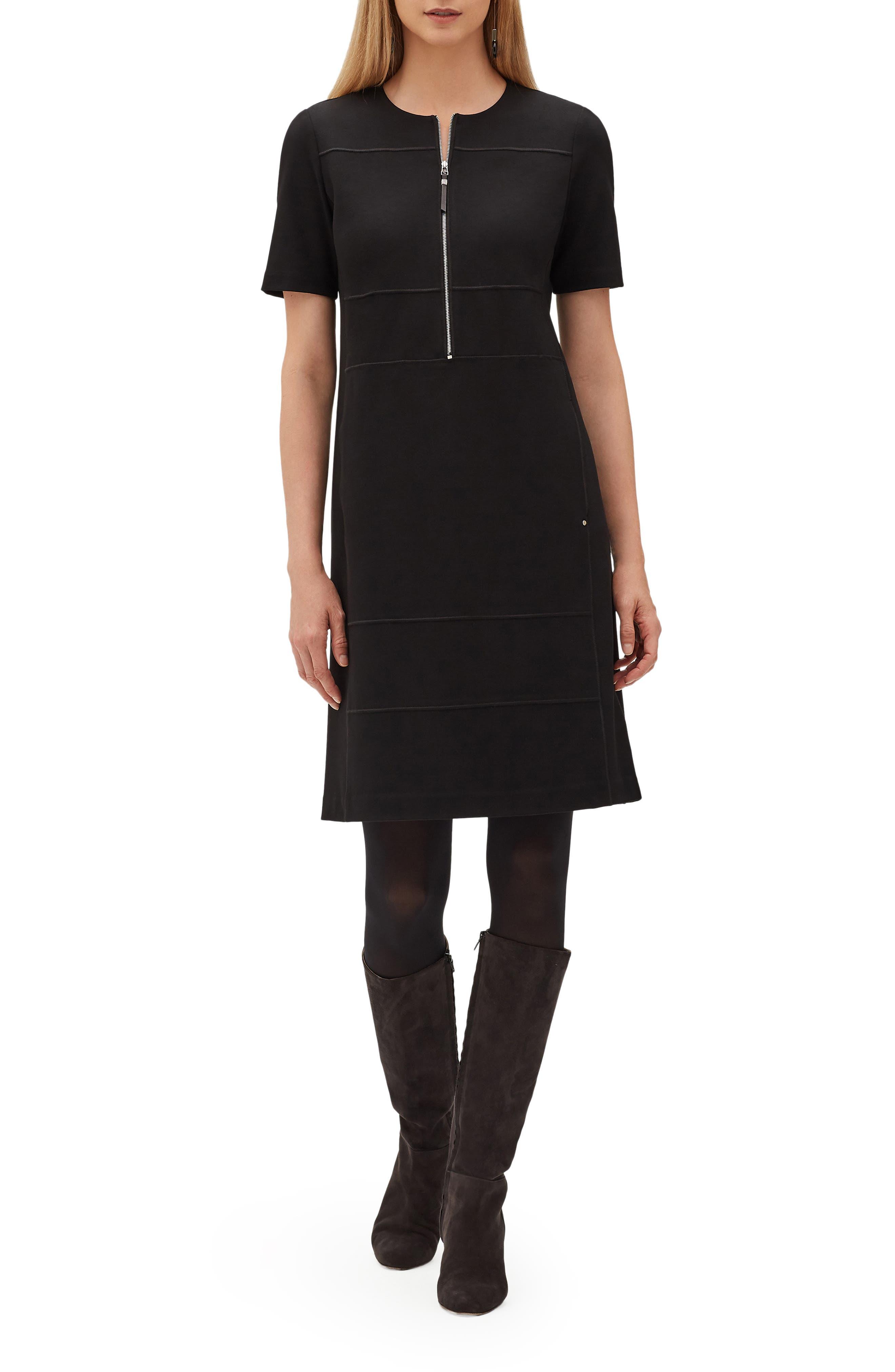 Demi Zip Front Dress,                             Main thumbnail 1, color,                             001