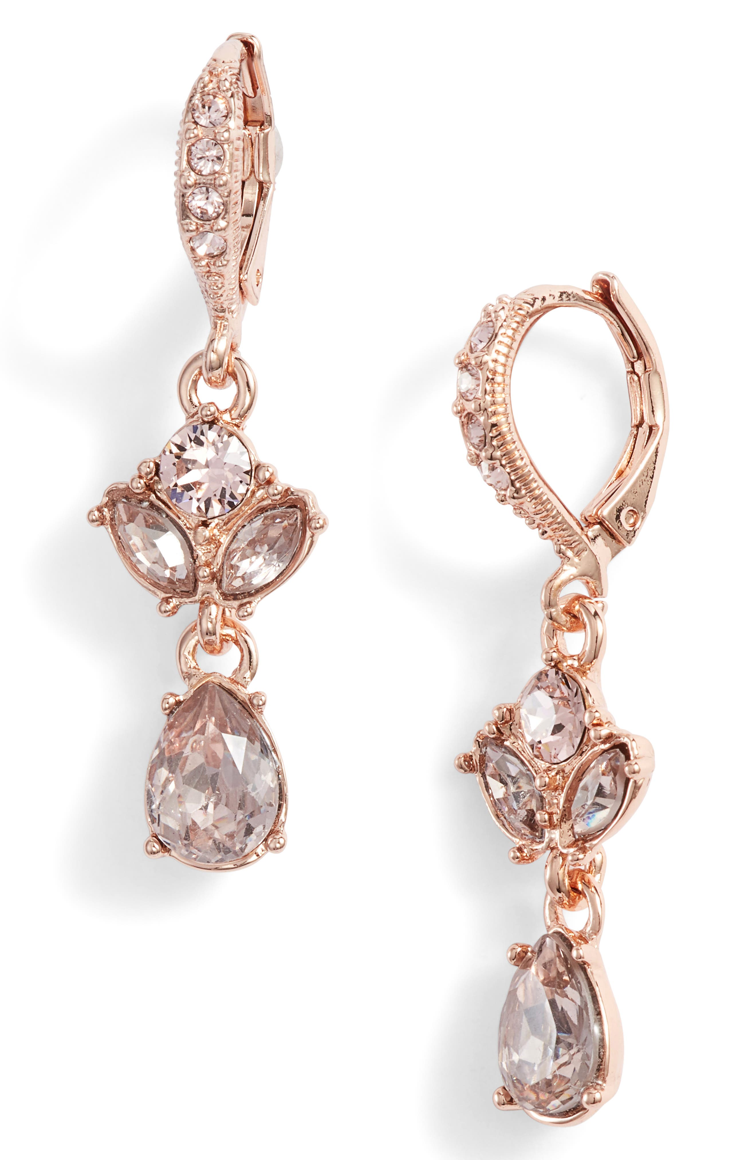 Small Crystal Drop Earrings,                         Main,                         color, ROSE GOLD