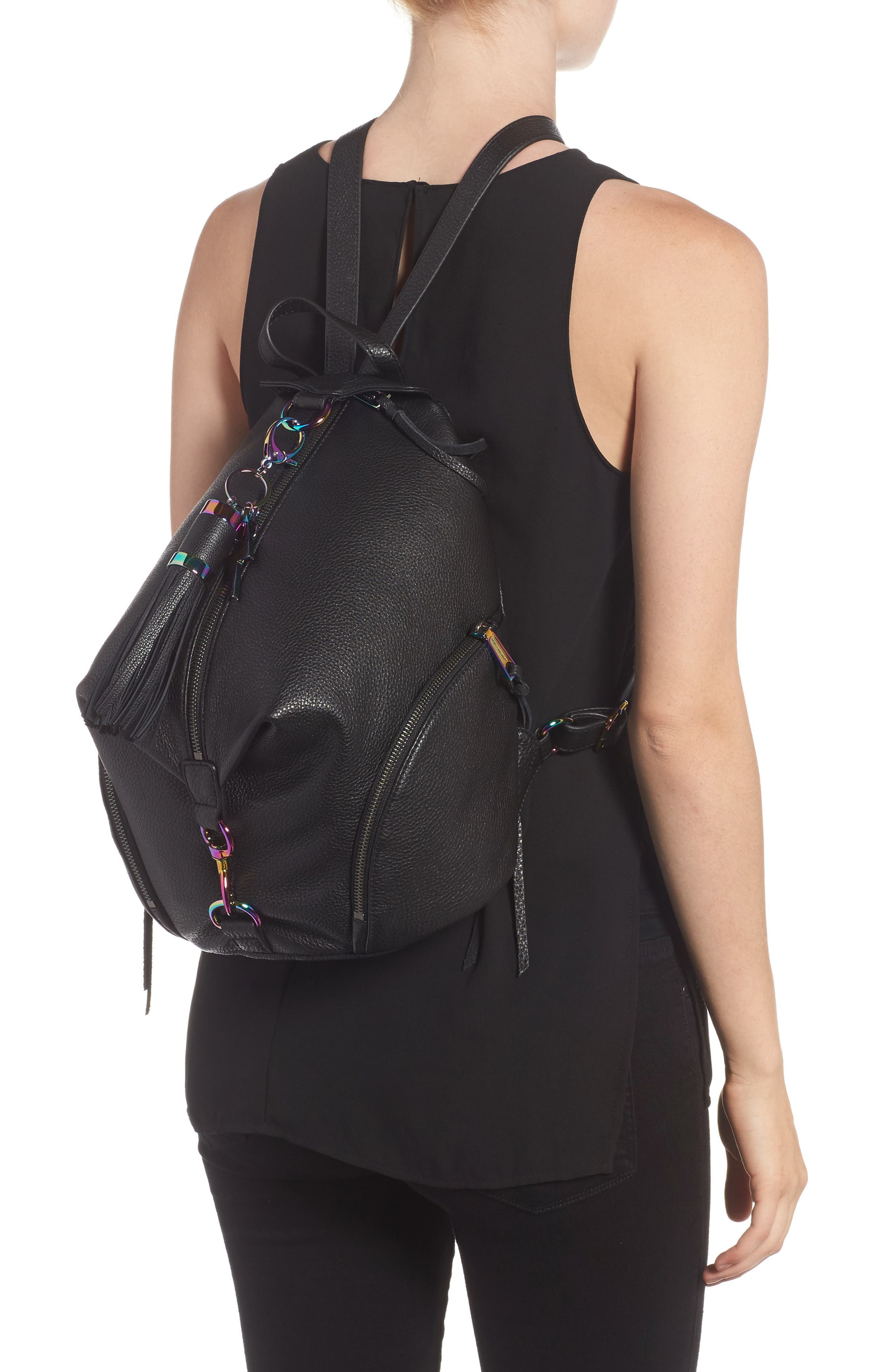 Julian Always On Charging Leather Backpack,                             Alternate thumbnail 2, color,                             001