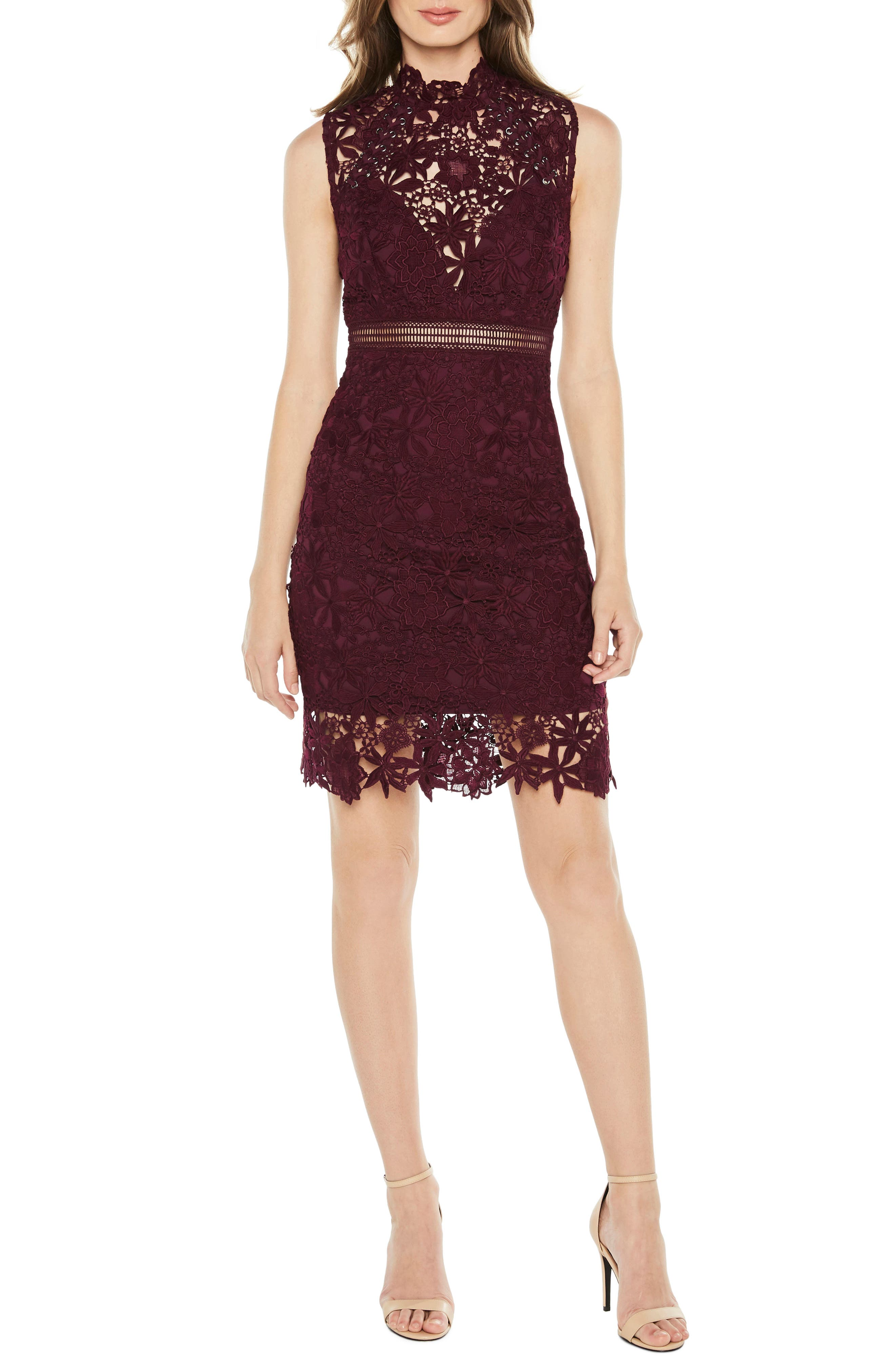Bardot Paris Lace Body-Con Dress, Burgundy