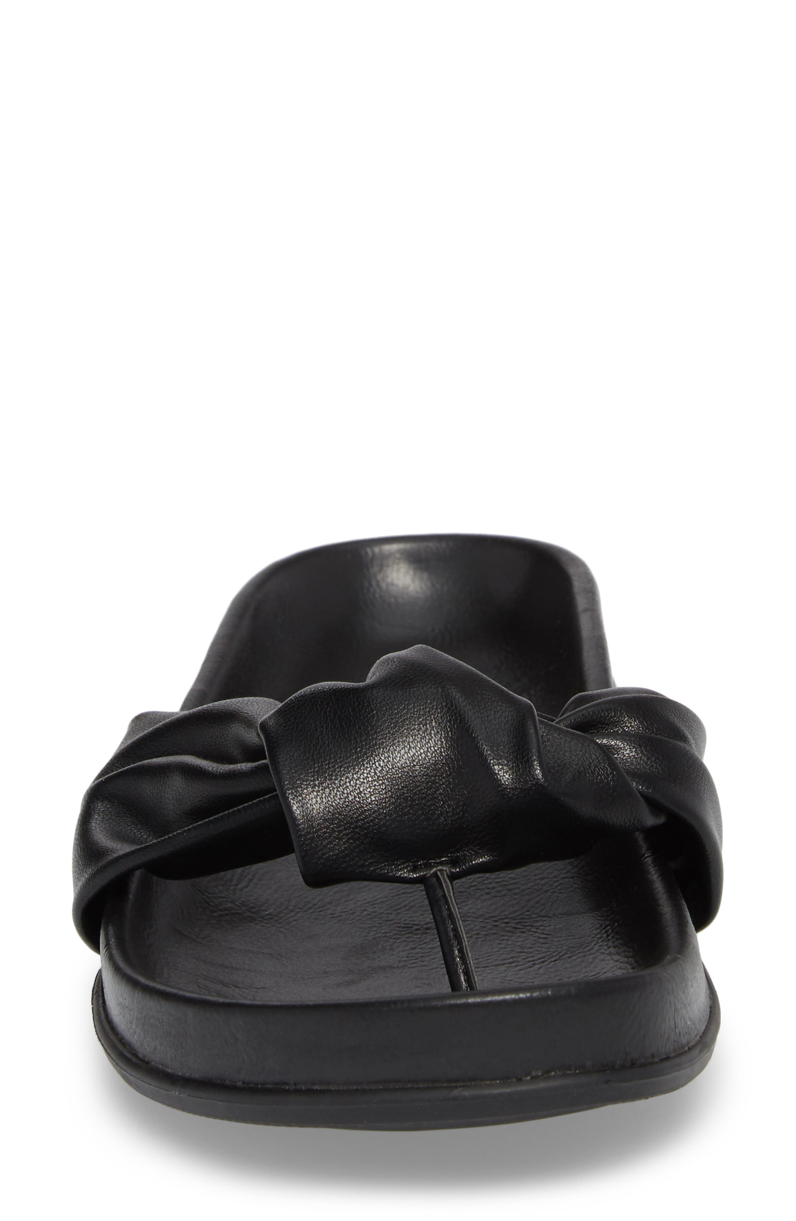 Glaze Bow Sandal,                             Alternate thumbnail 4, color,                             BLACK