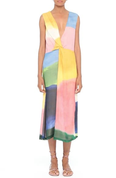 Watercolor Twisted Silk Midi Dress, video thumbnail