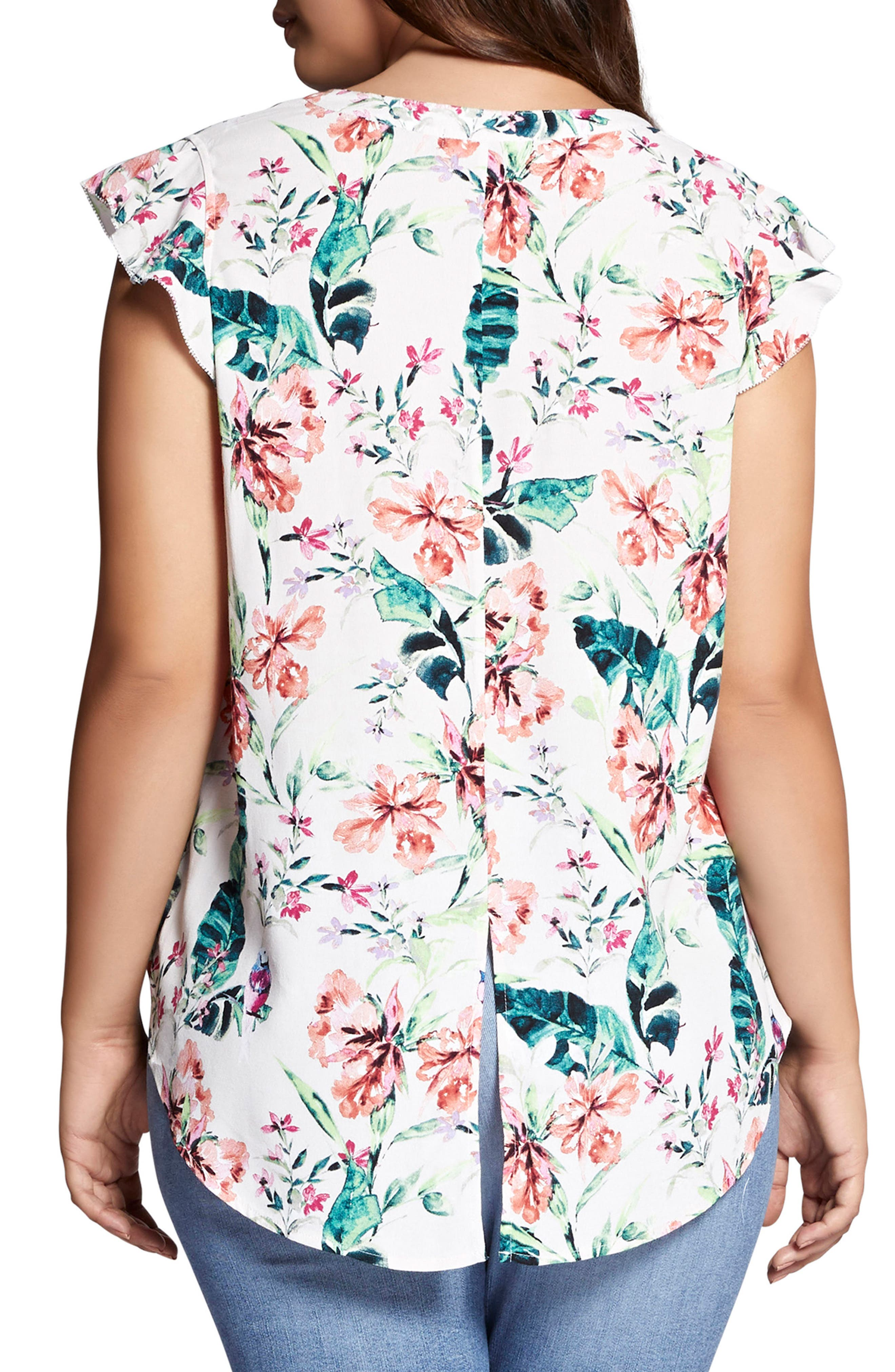 Floral Print Ruffle Top,                             Alternate thumbnail 2, color,                             106