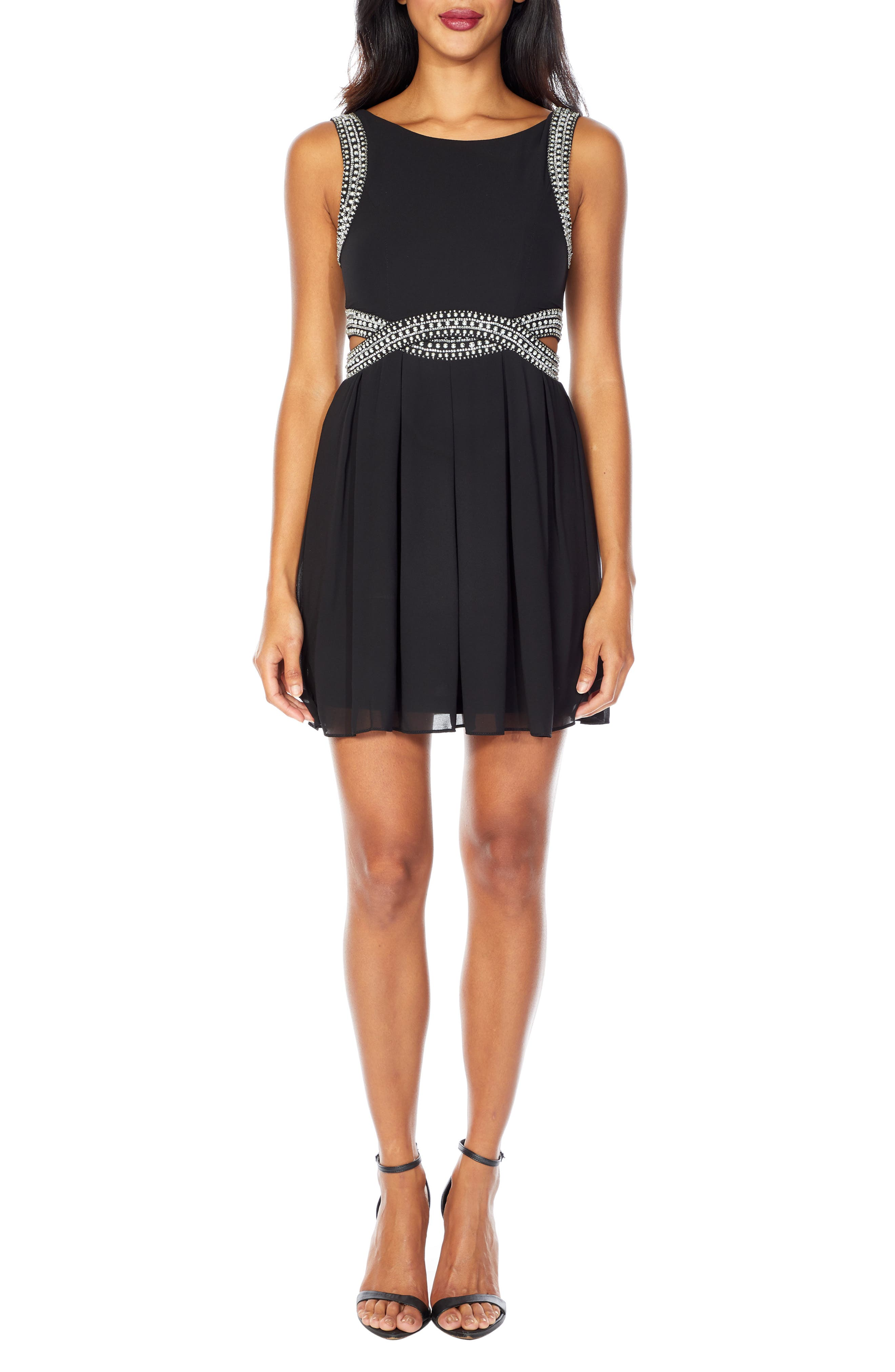 Malaga Beaded Minidress,                         Main,                         color, BLACK