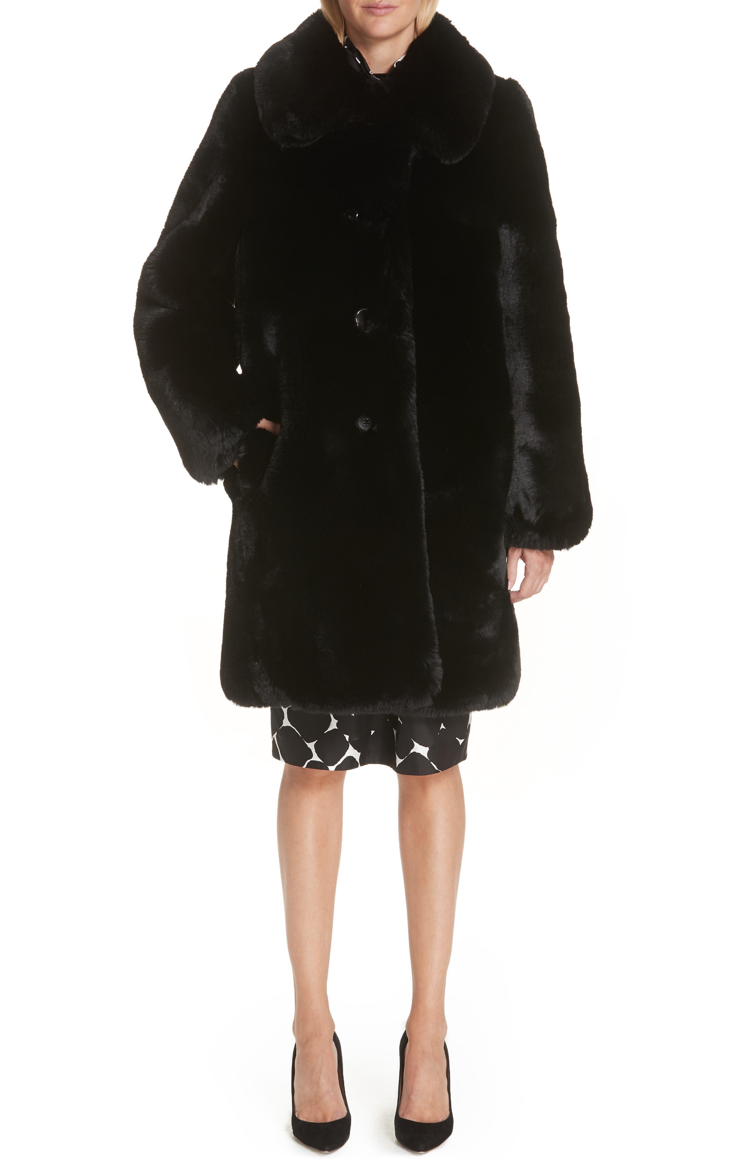 Faux Fur Coat,                             Alternate thumbnail 5, color,                             001