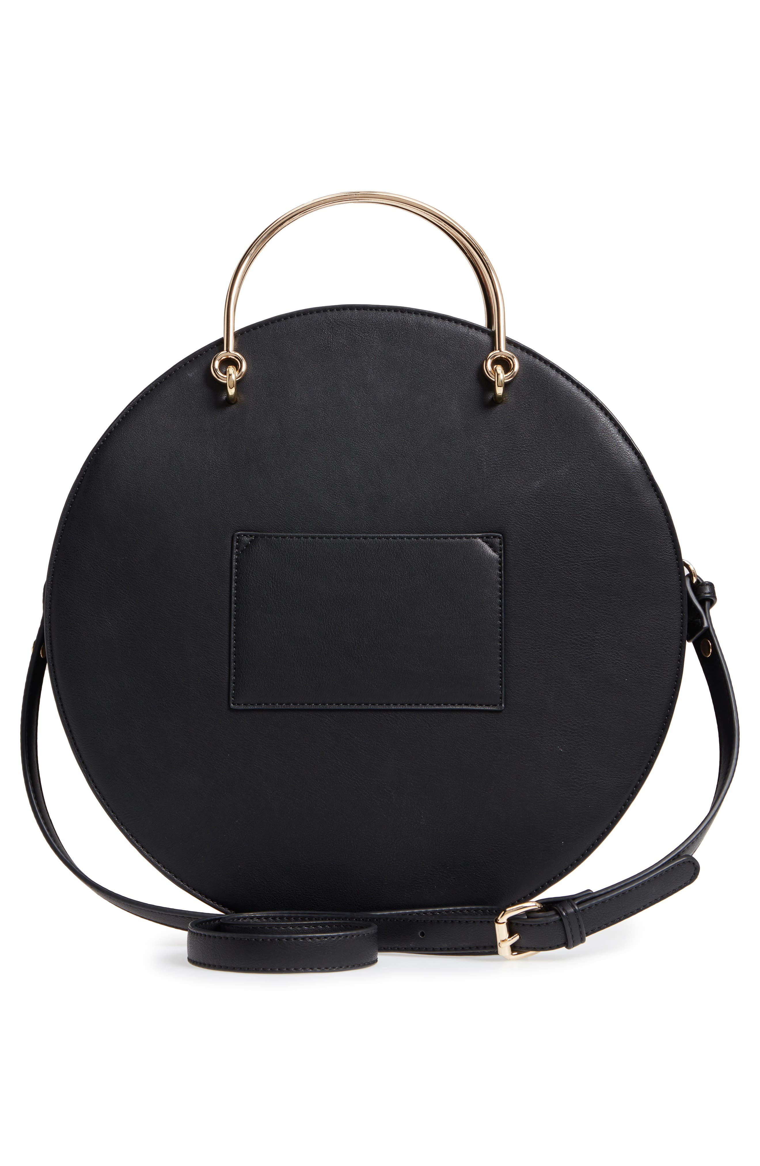 Mali + Lili Vegan Leather Round Top Handle Bag,                             Alternate thumbnail 3, color,                             001