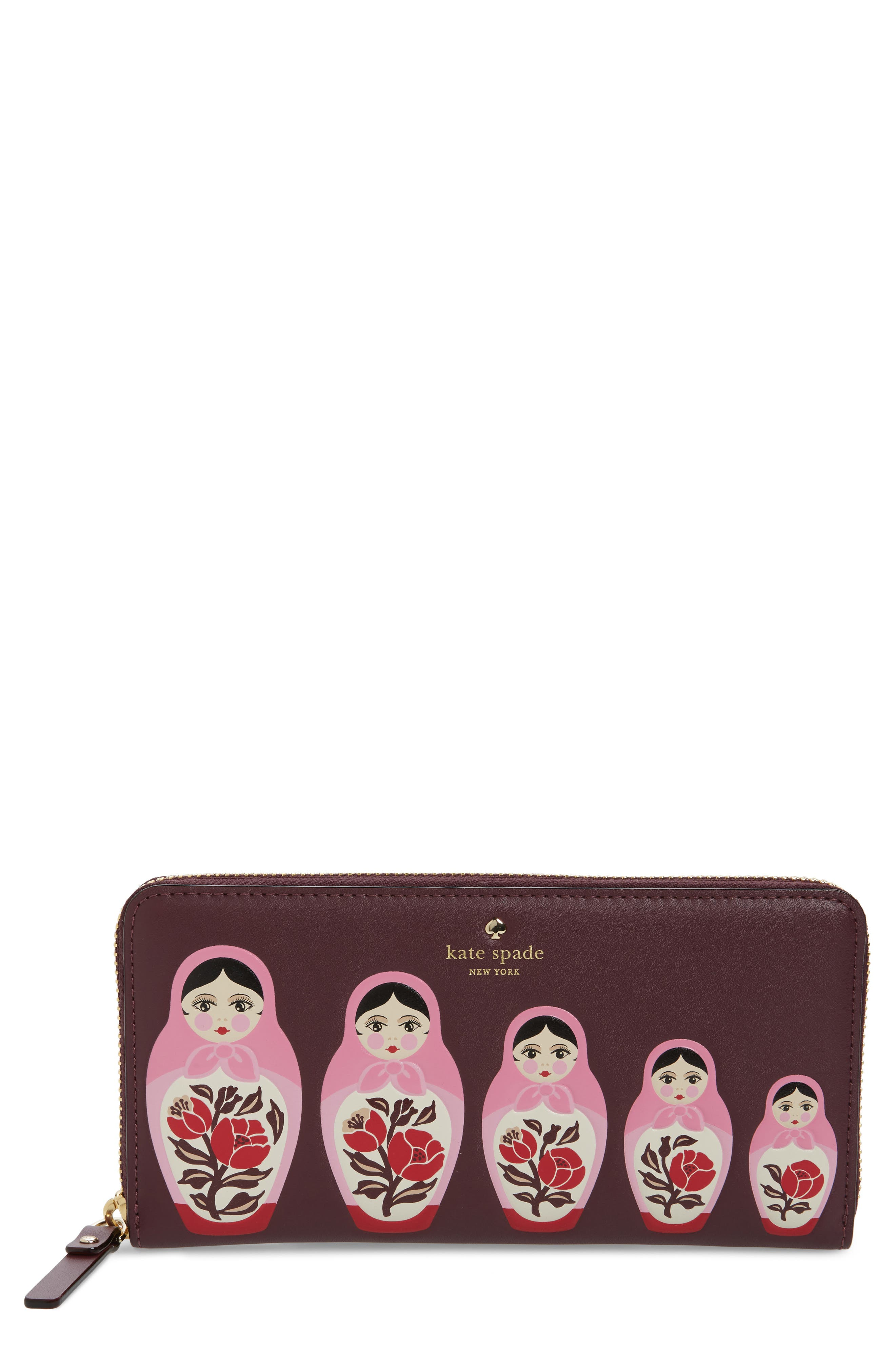 ooh la la stacking doll leather wallet,                             Main thumbnail 1, color,                             930